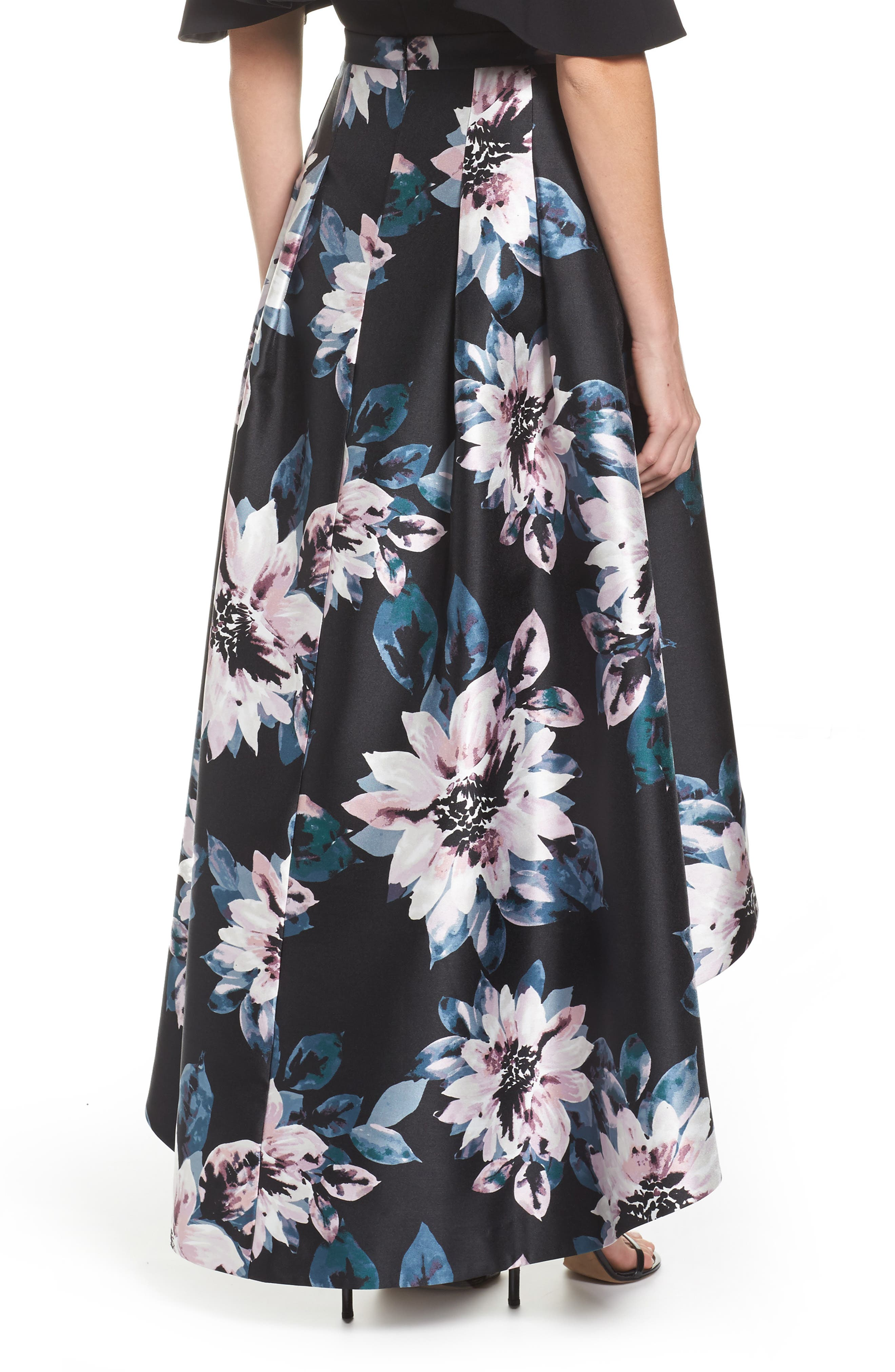 Floral High/Low Skirt,                             Alternate thumbnail 2, color,                             006