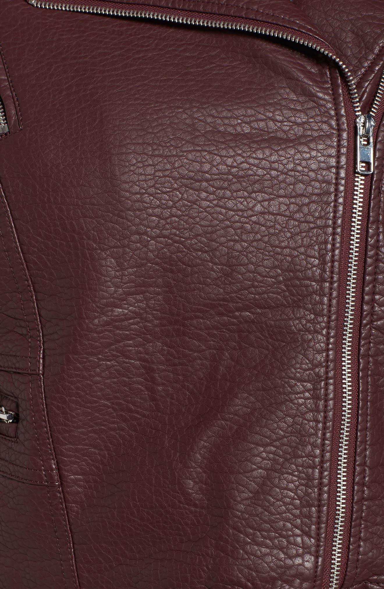 Faux Fur Trim Moto Jacket,                             Alternate thumbnail 6, color,                             601