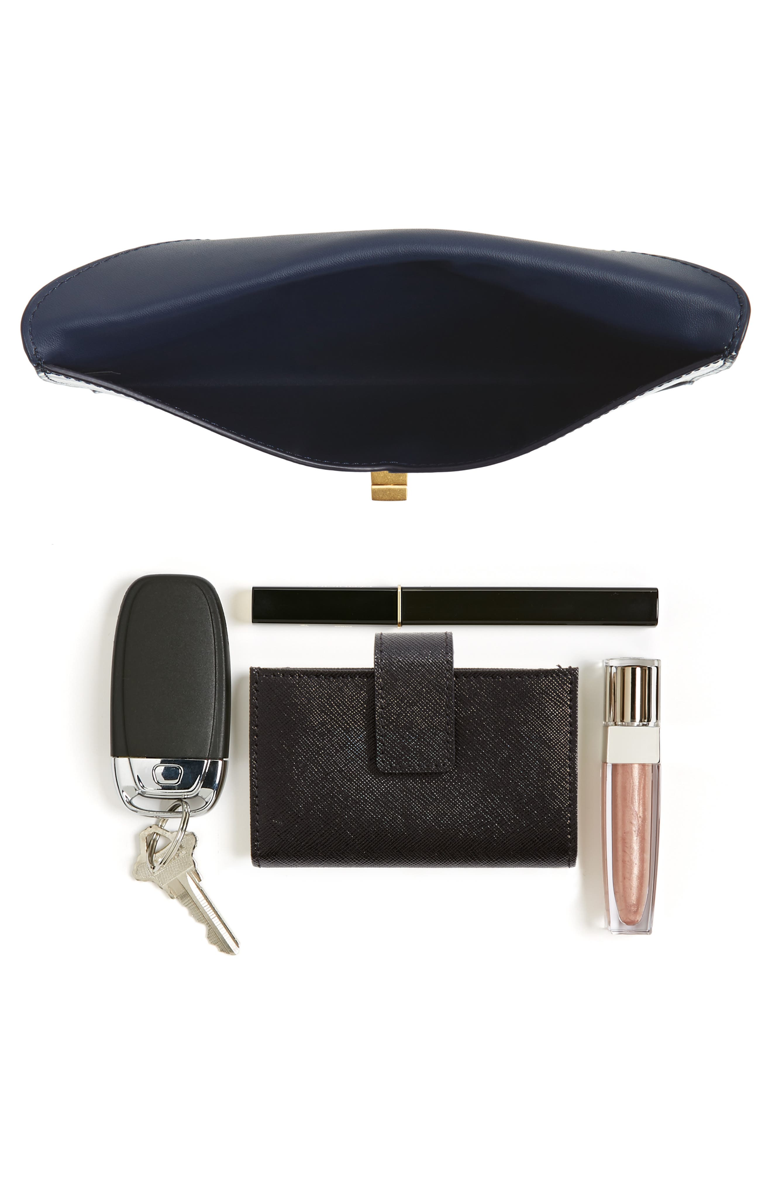 Leather Envelope Clutch,                             Alternate thumbnail 7, color,                             NAVY SPACE DYE