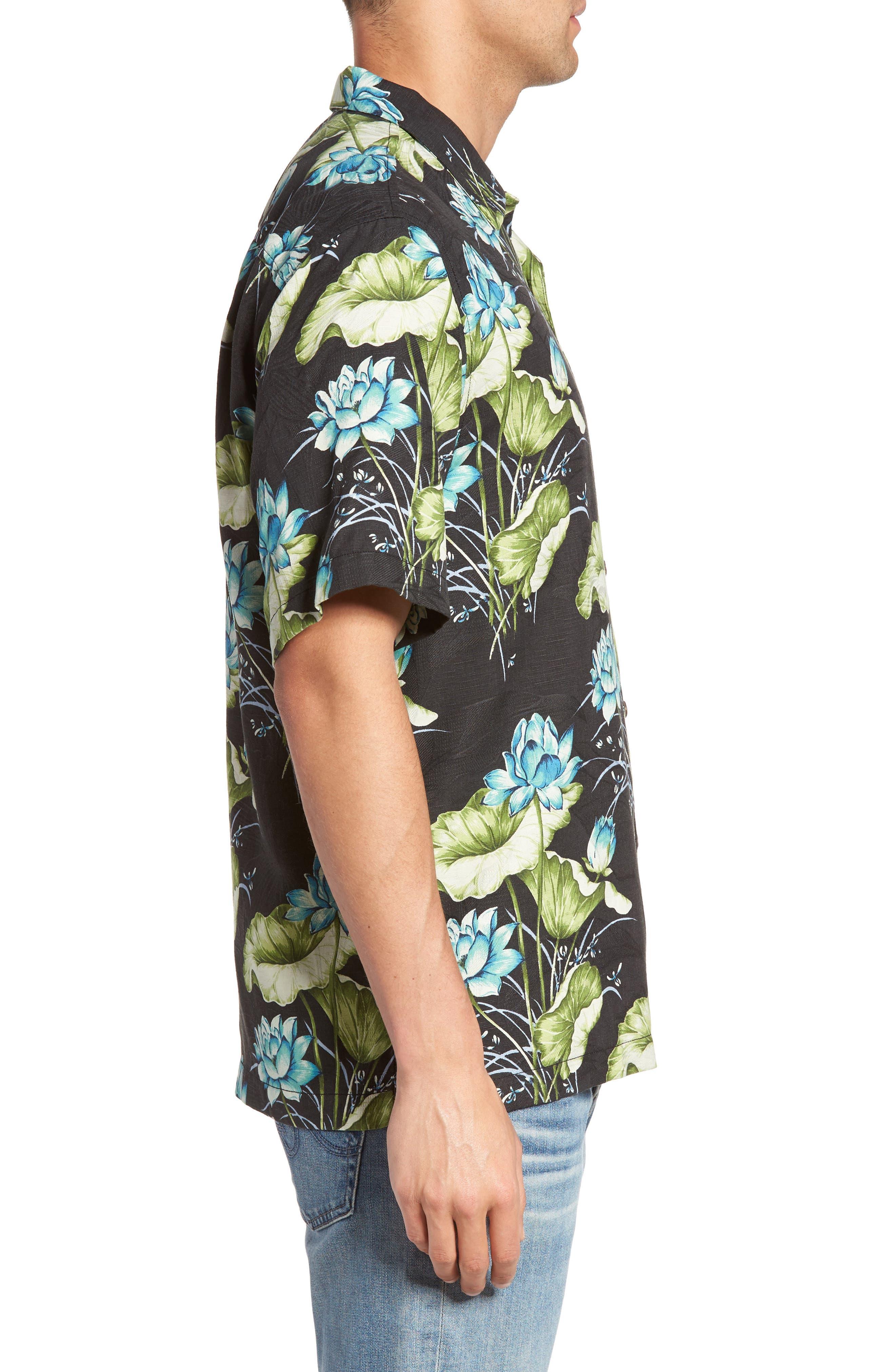 Adriatic Garden Silk Blend Camp Shirt,                             Alternate thumbnail 3, color,                             021