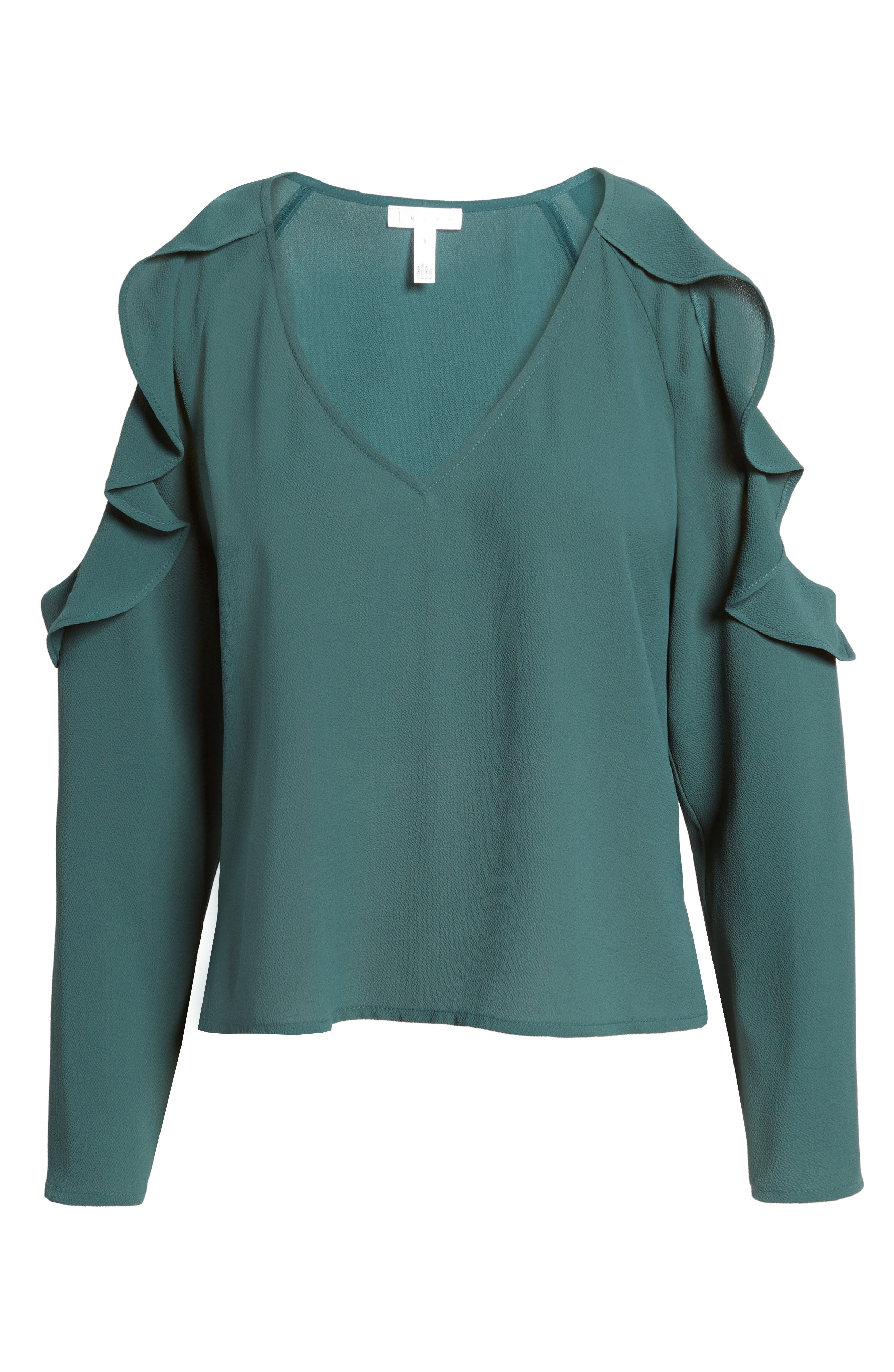 Cold Shoulder Ruffle Top,                             Alternate thumbnail 6, color,                             310