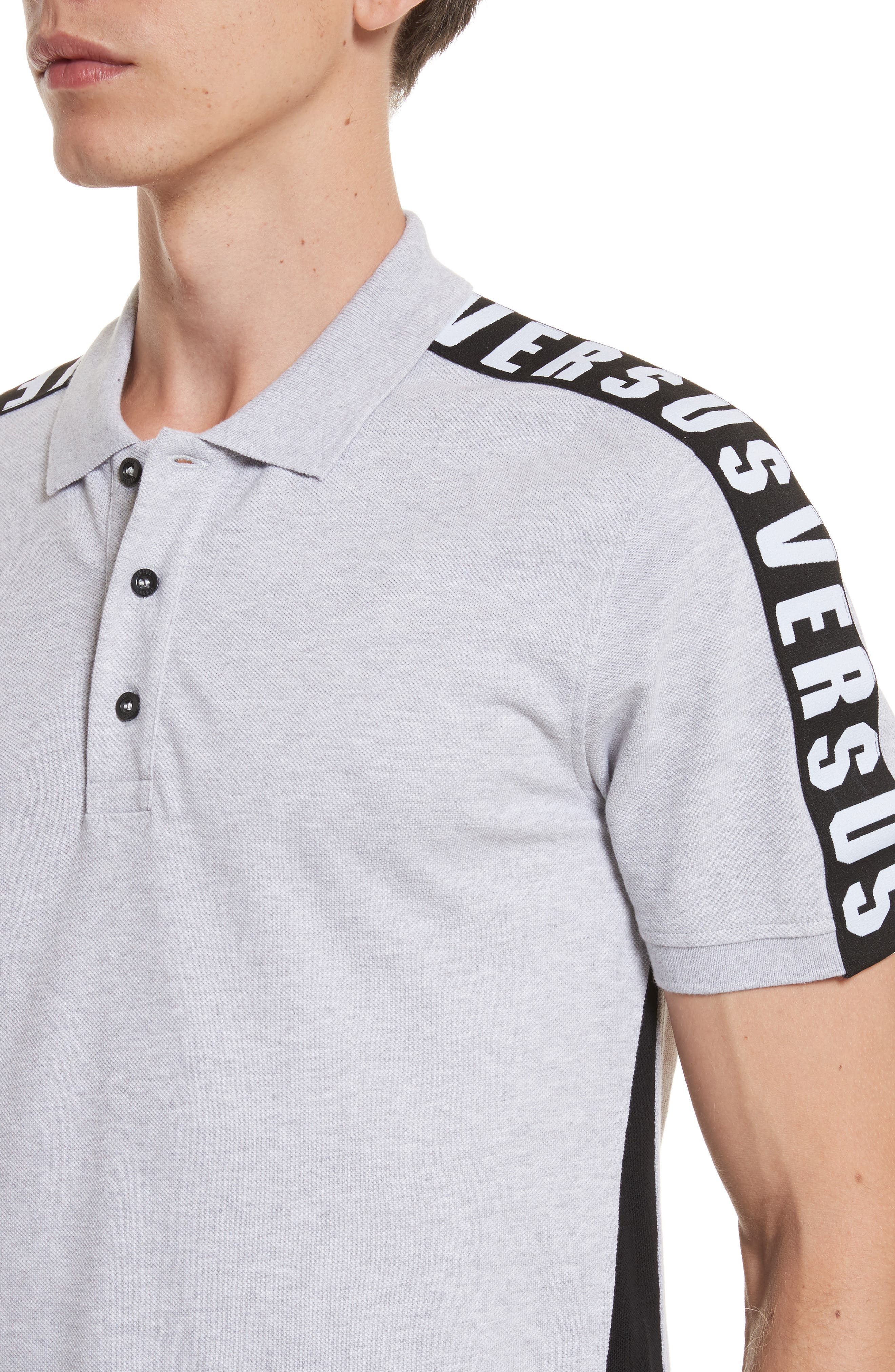 VERSUS by Versace Shoulder Tape Piqué Polo,                             Alternate thumbnail 4, color,                             017