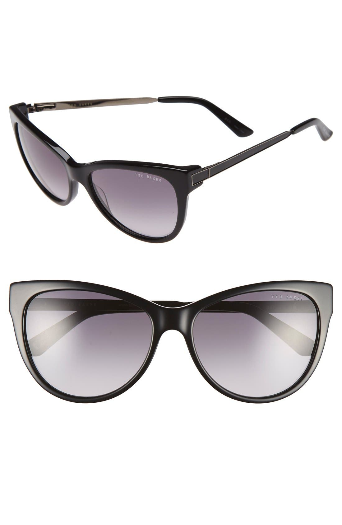 57mm Cat Eye Sunglasses,                         Main,                         color, 001