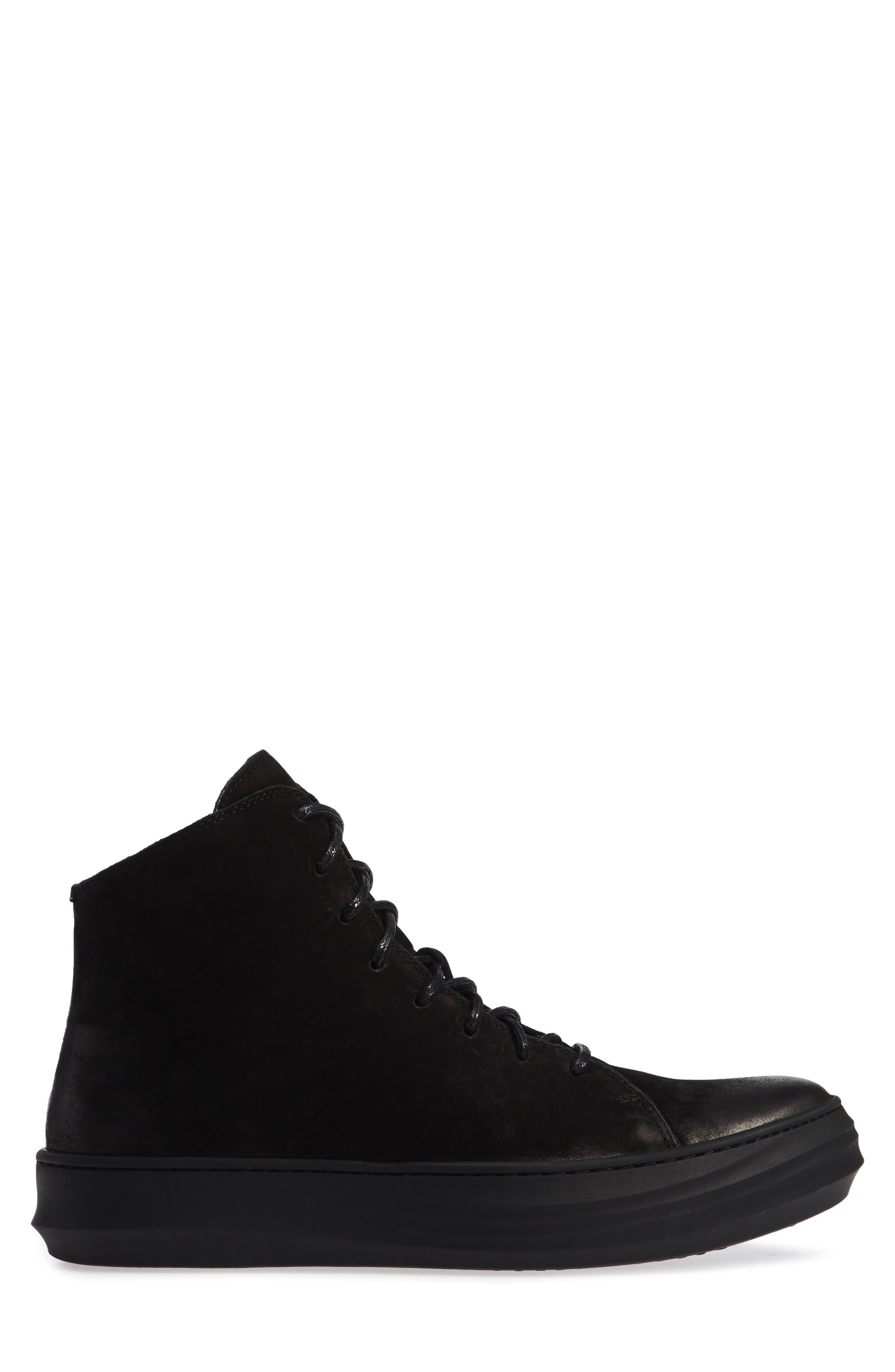 High Top Sneaker,                             Alternate thumbnail 3, color,                             BLACK LEATHER