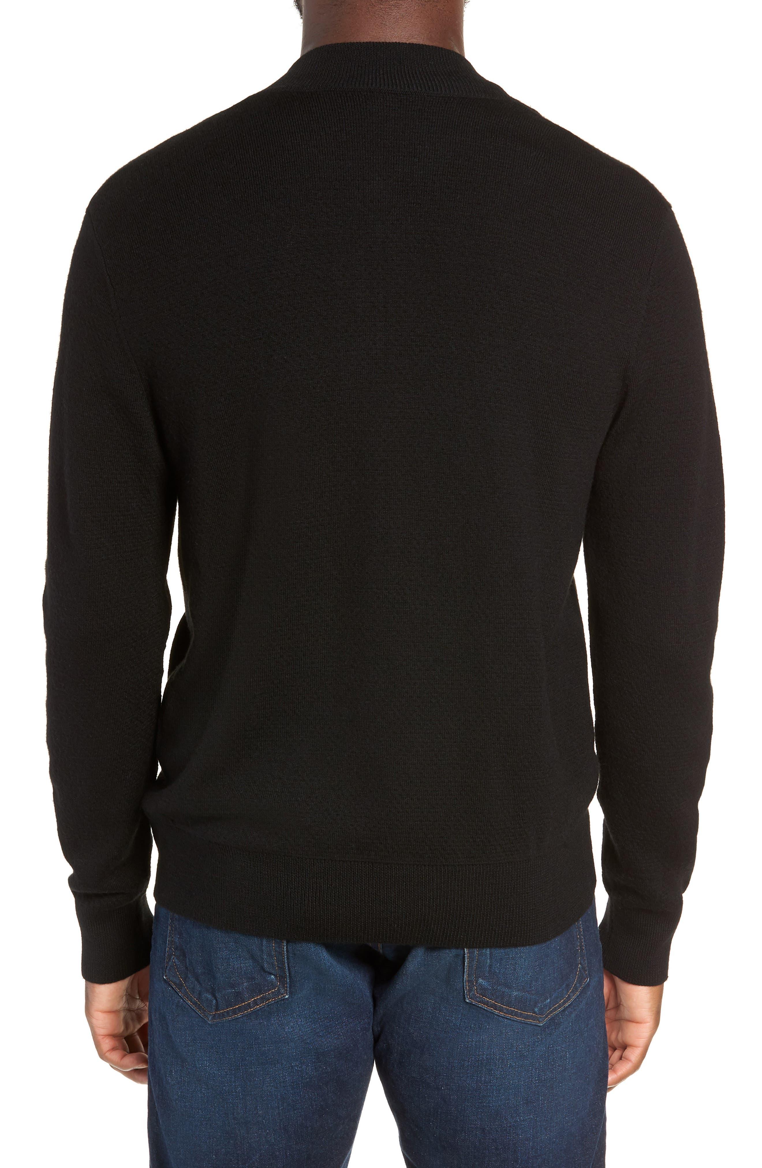 Orwell Slim Fit Wool Bomber Jacket,                             Alternate thumbnail 2, color,                             BLACK/ BLACK