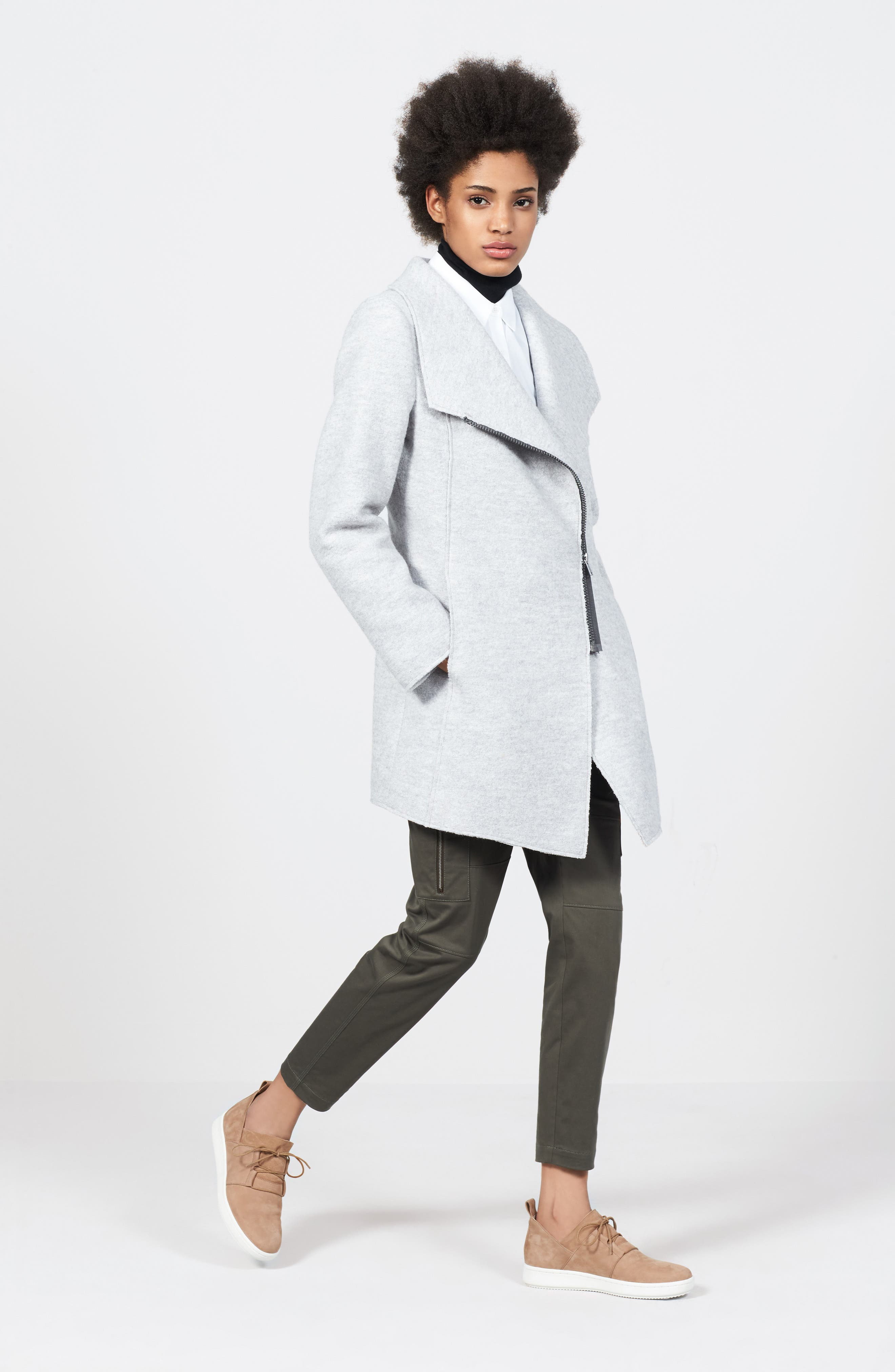 Asymmetrical Zip Boiled Wool Blend Coat, Main, color, GREY DOVE