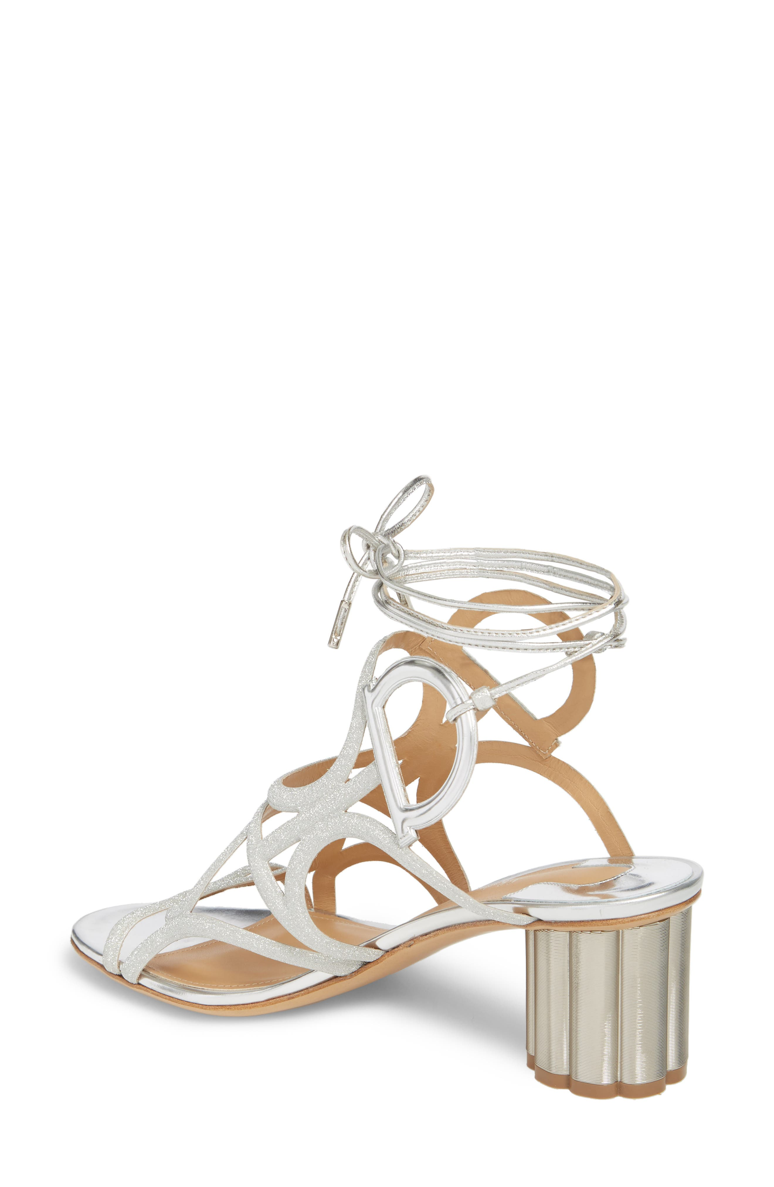 Vinci Lace-Up Block Heel Sandal,                             Alternate thumbnail 2, color,                             SILVER