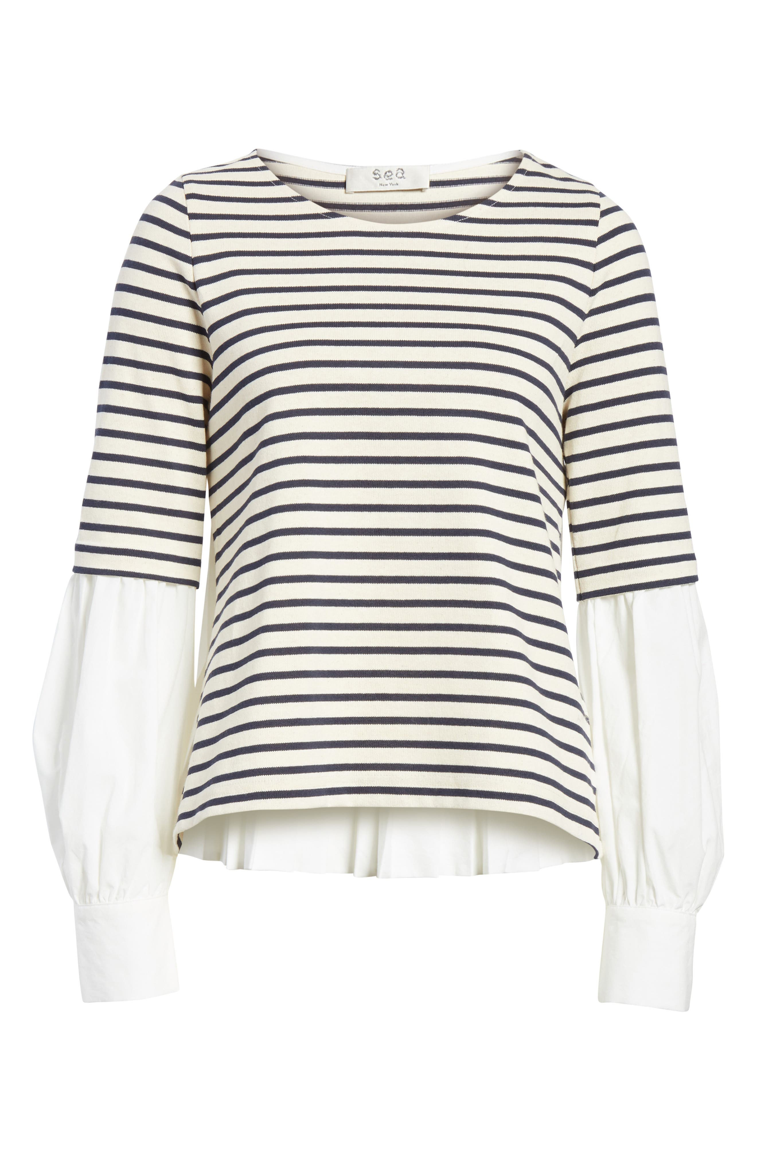 Levine Mixed Media Top,                             Alternate thumbnail 6, color,                             CREAM/ NAVY STRIPE