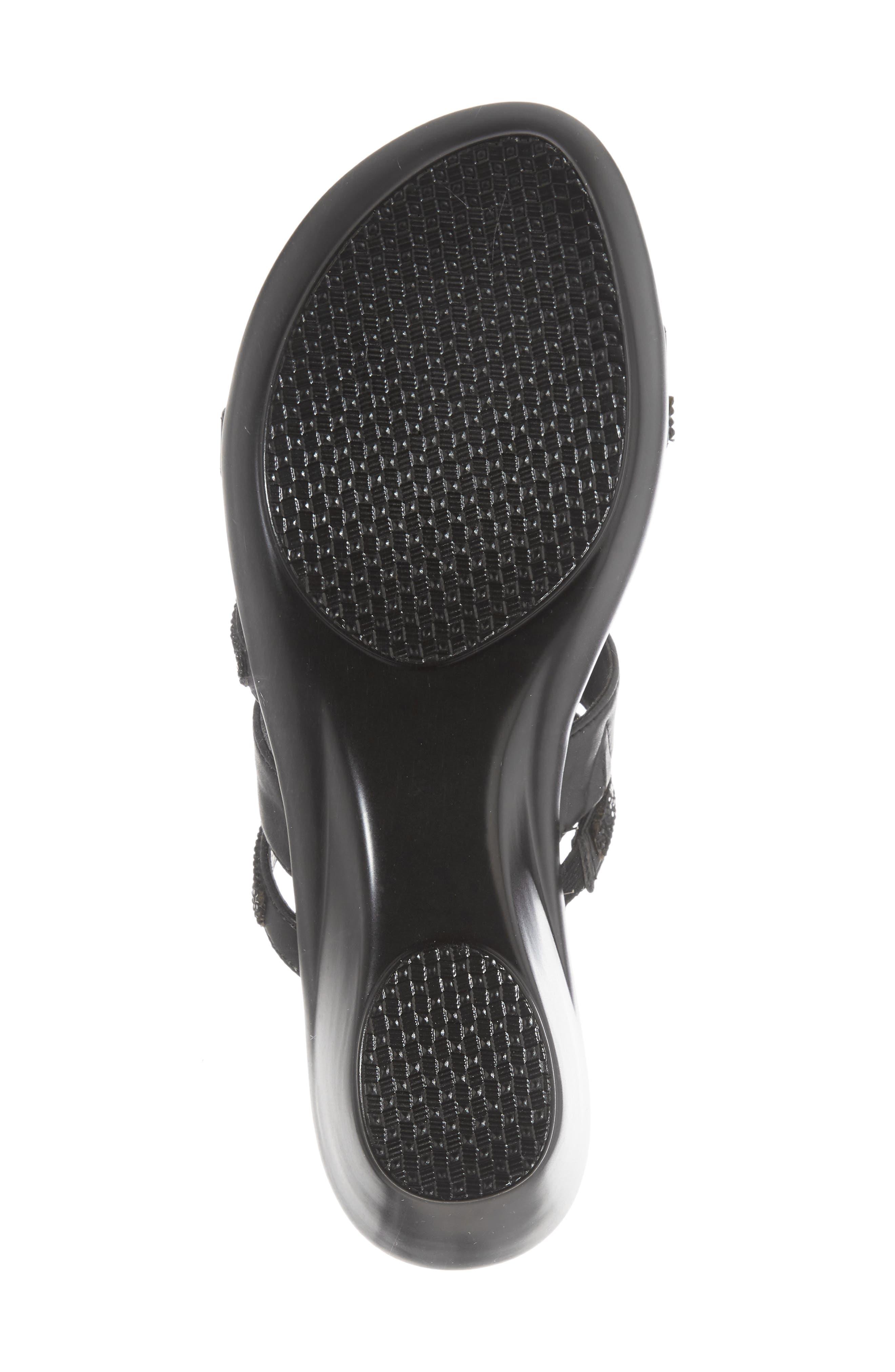 Kozima Embellished Sandal,                             Alternate thumbnail 6, color,                             BLACK FABRIC