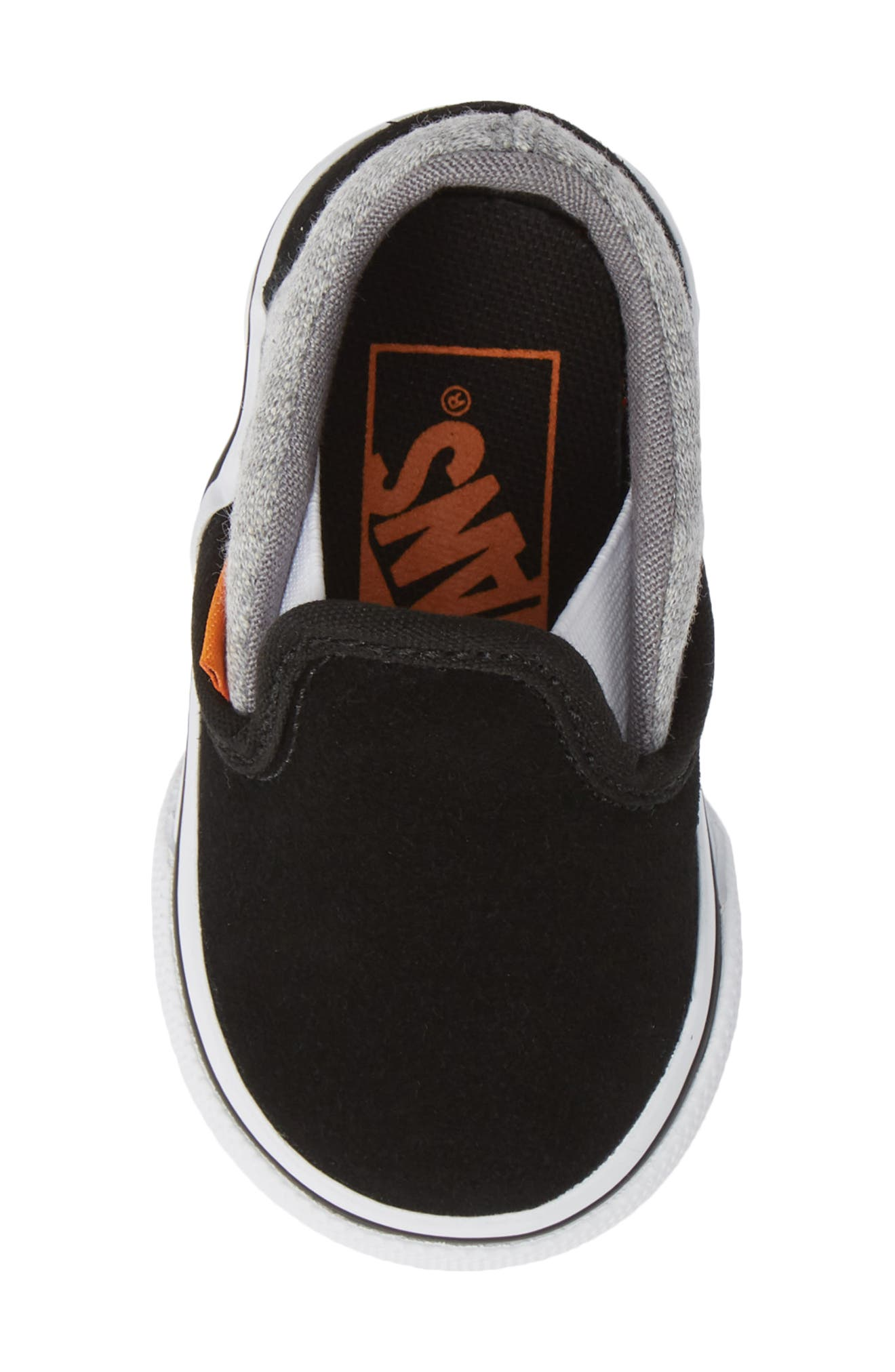 'Classic' Slip-On,                             Alternate thumbnail 5, color,                             SUEDE AND JERSEY GRAY/ BLACK
