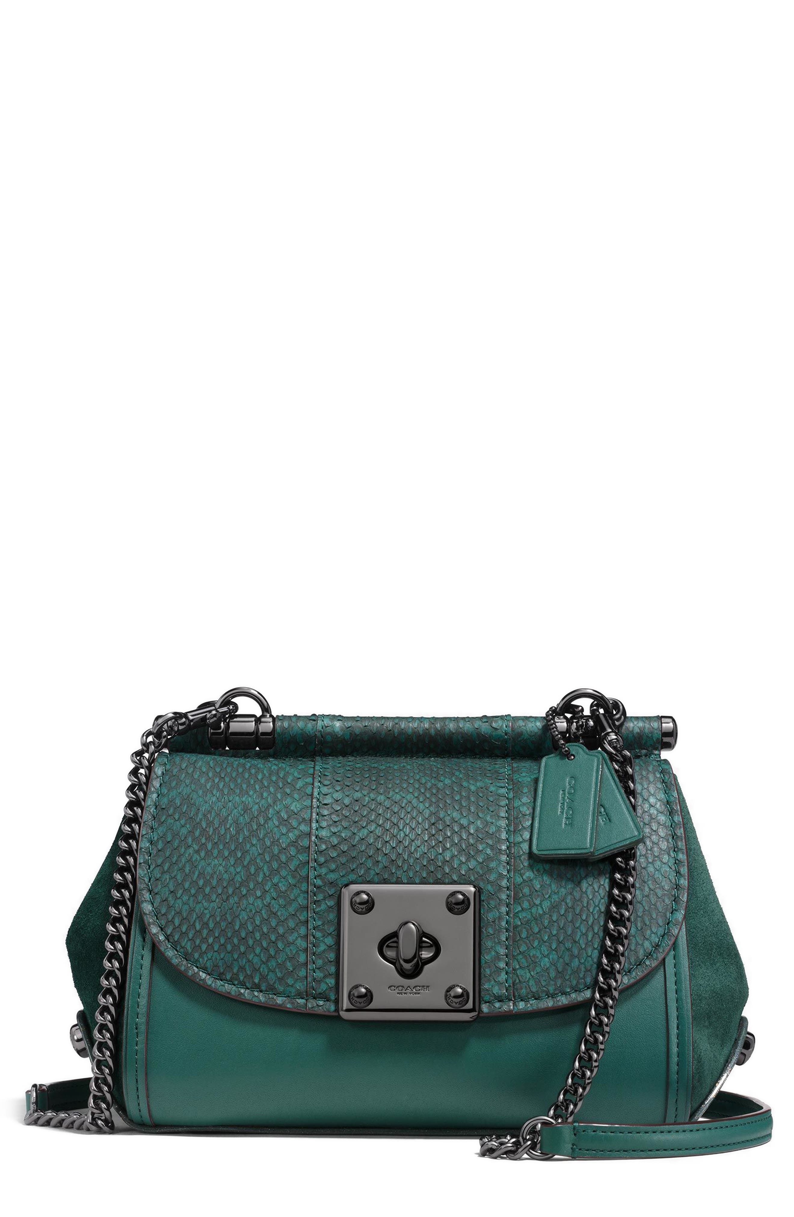 Genuine Snakeskin & Leather Satchel,                             Main thumbnail 1, color,