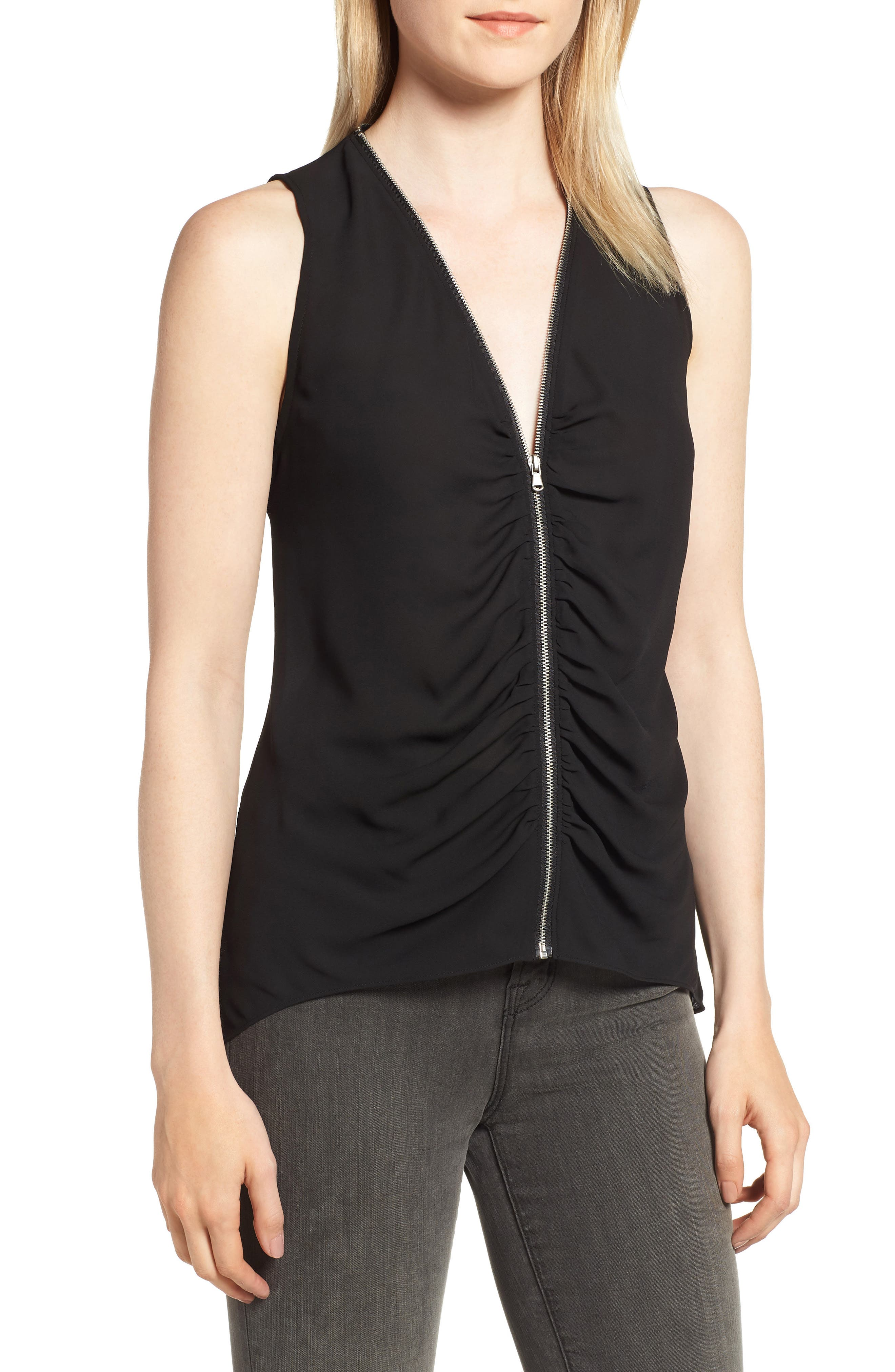 Zip Shirred Top,                             Main thumbnail 1, color,                             001