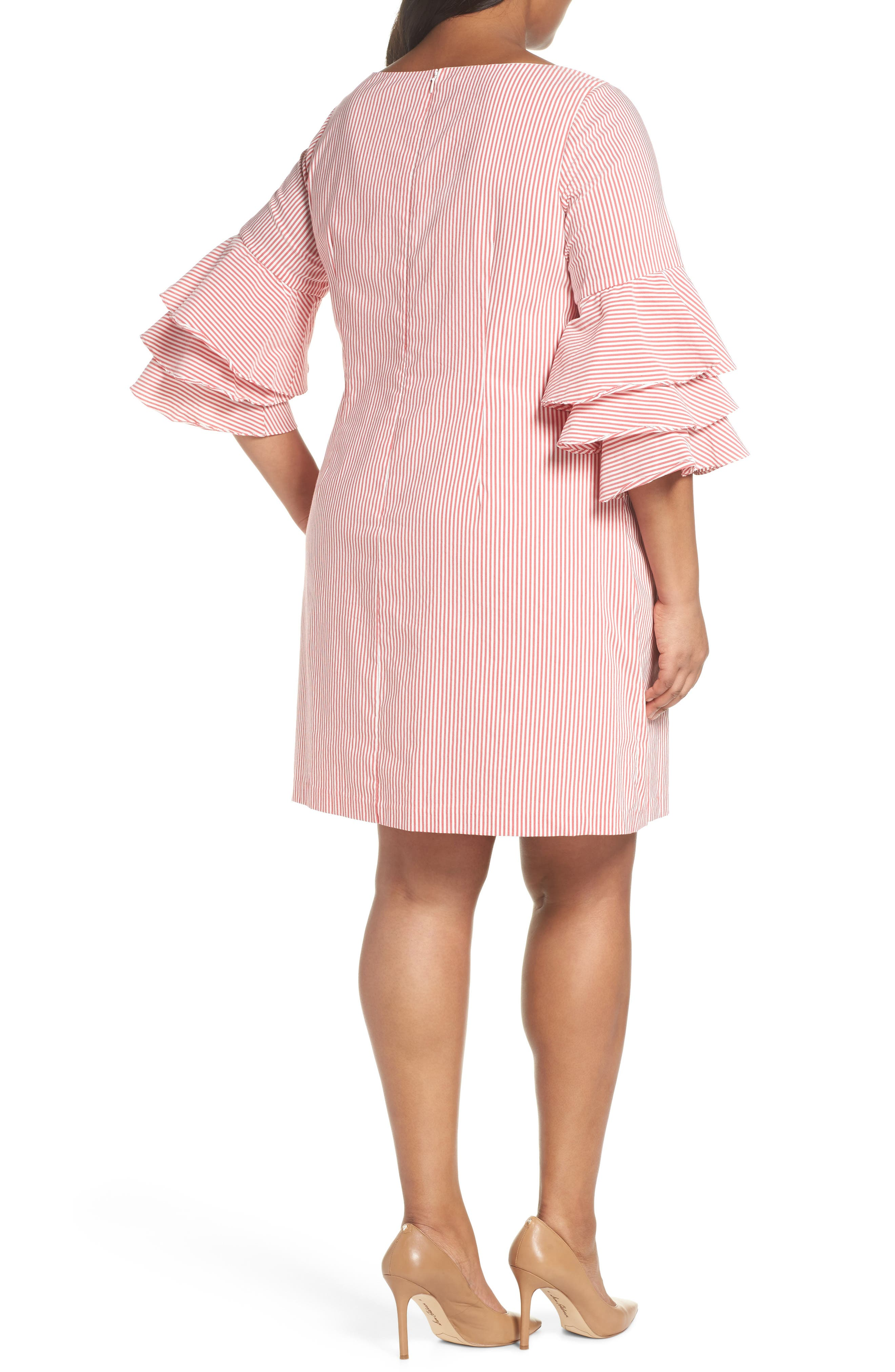 Ruffle Sleeve Stripe Shift Dress,                             Alternate thumbnail 2, color,                             644