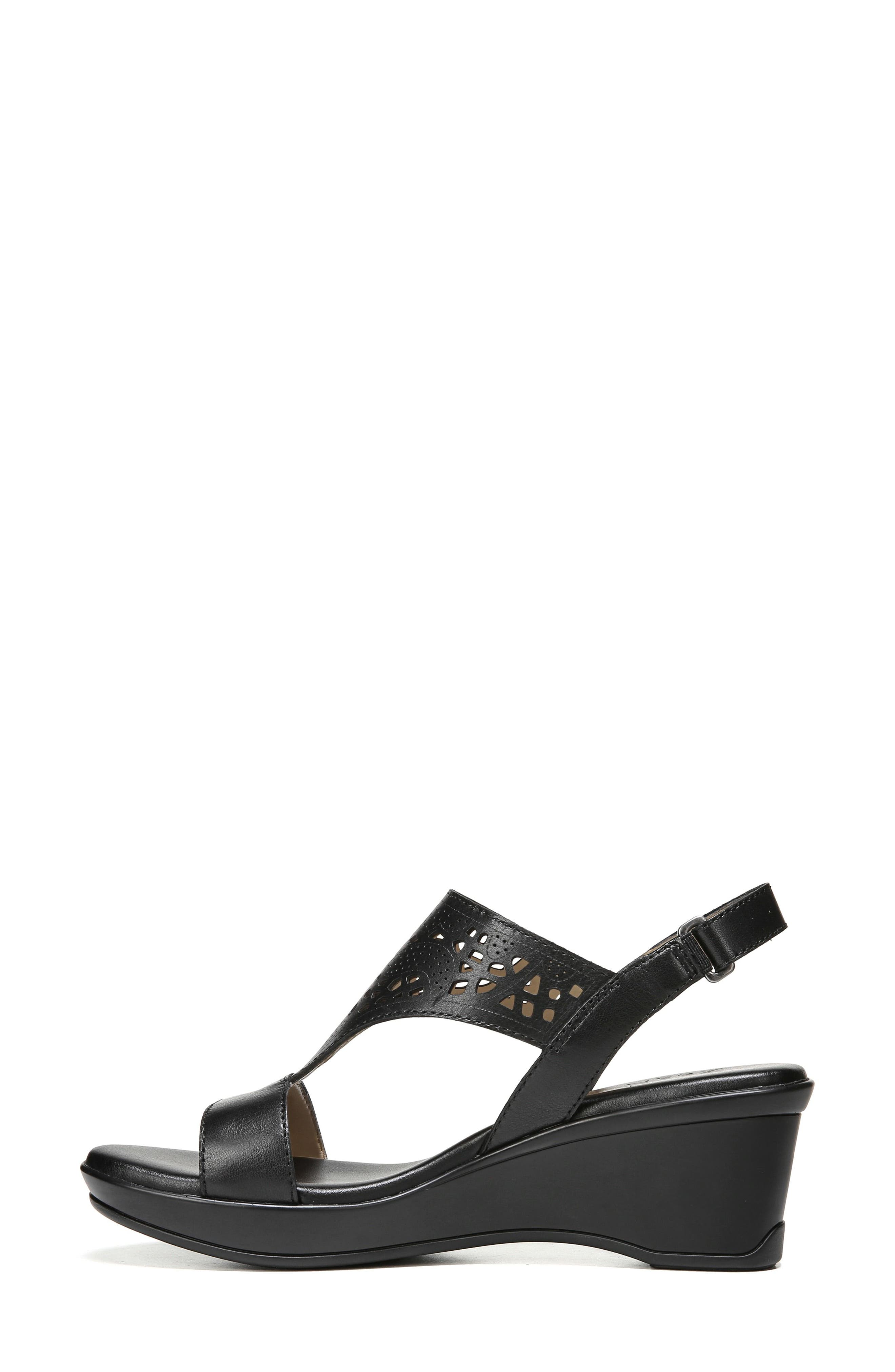 Veda Wedge Sandal,                             Alternate thumbnail 3, color,                             BLACK LEATHER