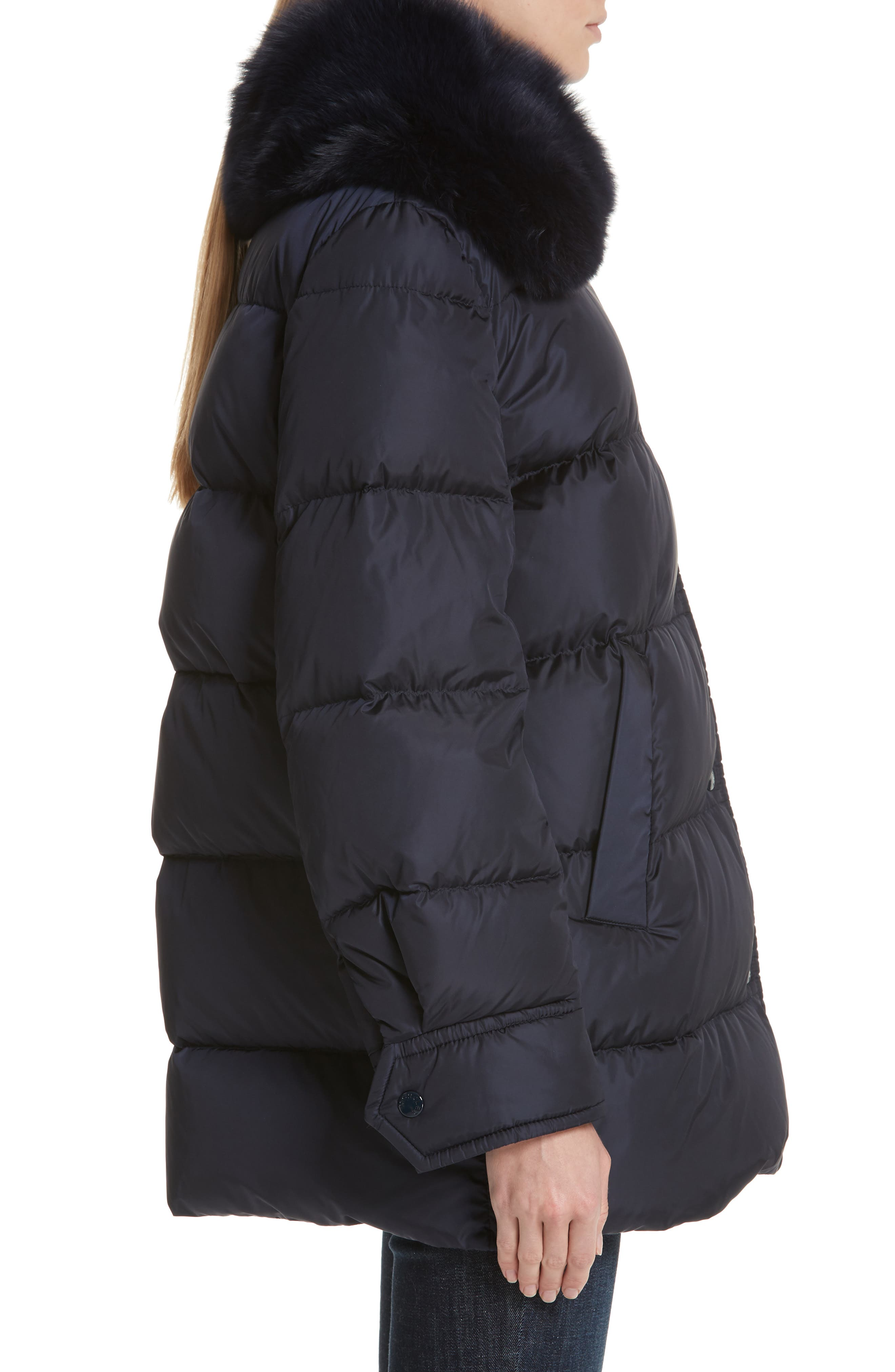 Mesange Quilted Down Coat with Removable Genuine Fox Fur Collar,                             Alternate thumbnail 3, color,                             NAVY