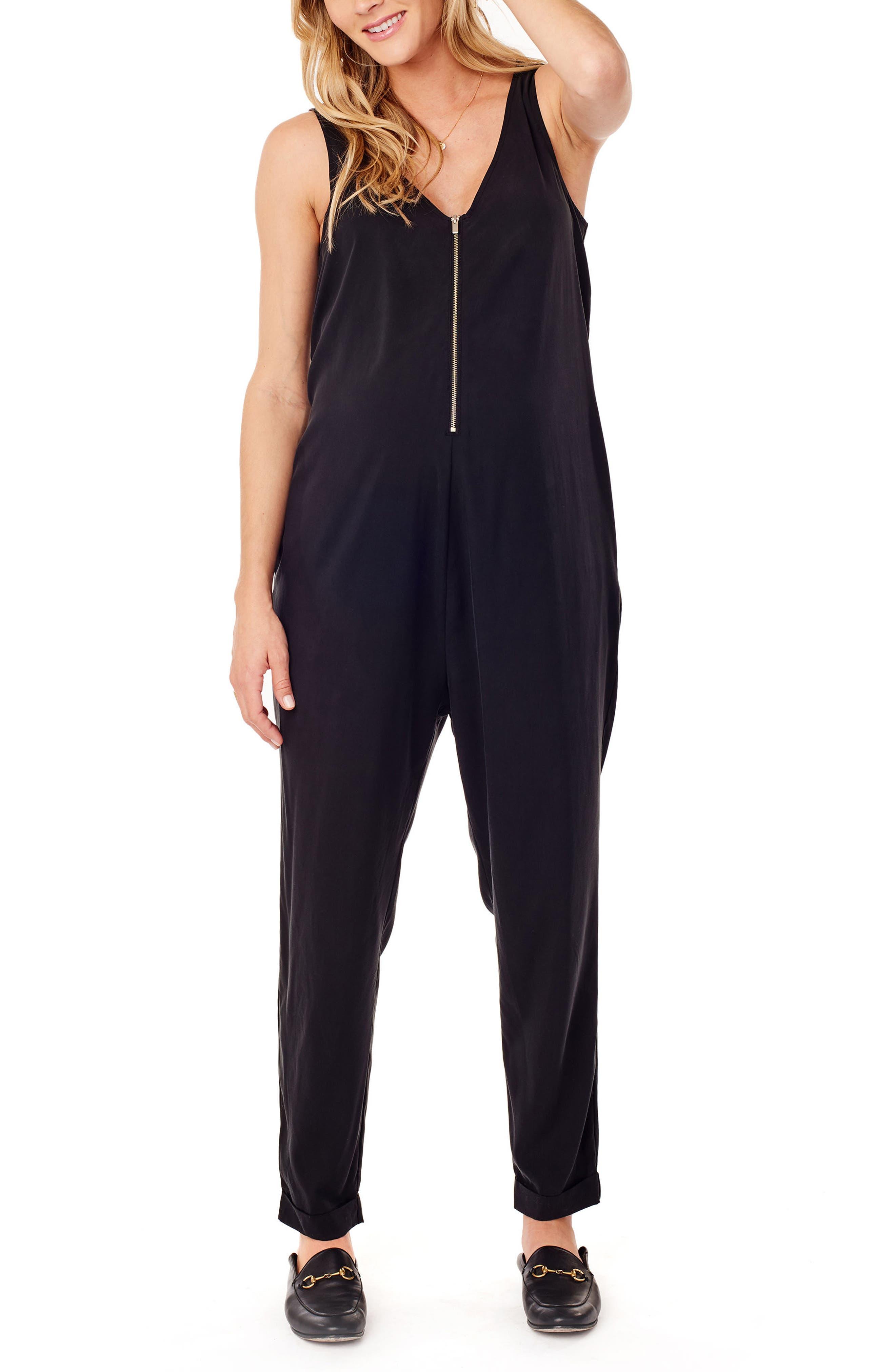 Zip Front Maternity/Nursing Jumpsuit,                             Main thumbnail 1, color,                             JET BLACK