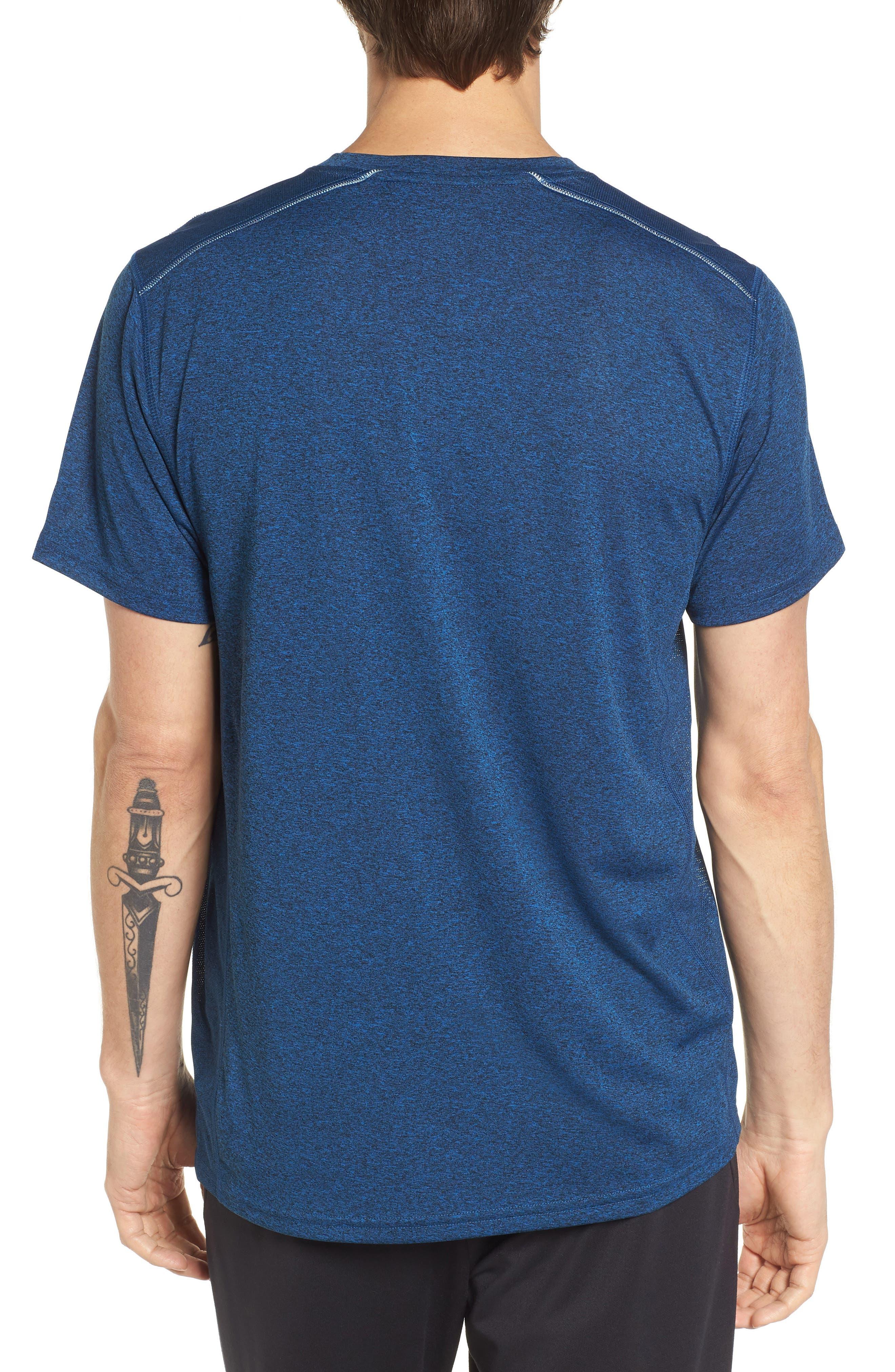 Goodsport Mesh Panel T-Shirt,                             Alternate thumbnail 2, color,                             LAPIS BLUE/ BLACK HEATHER