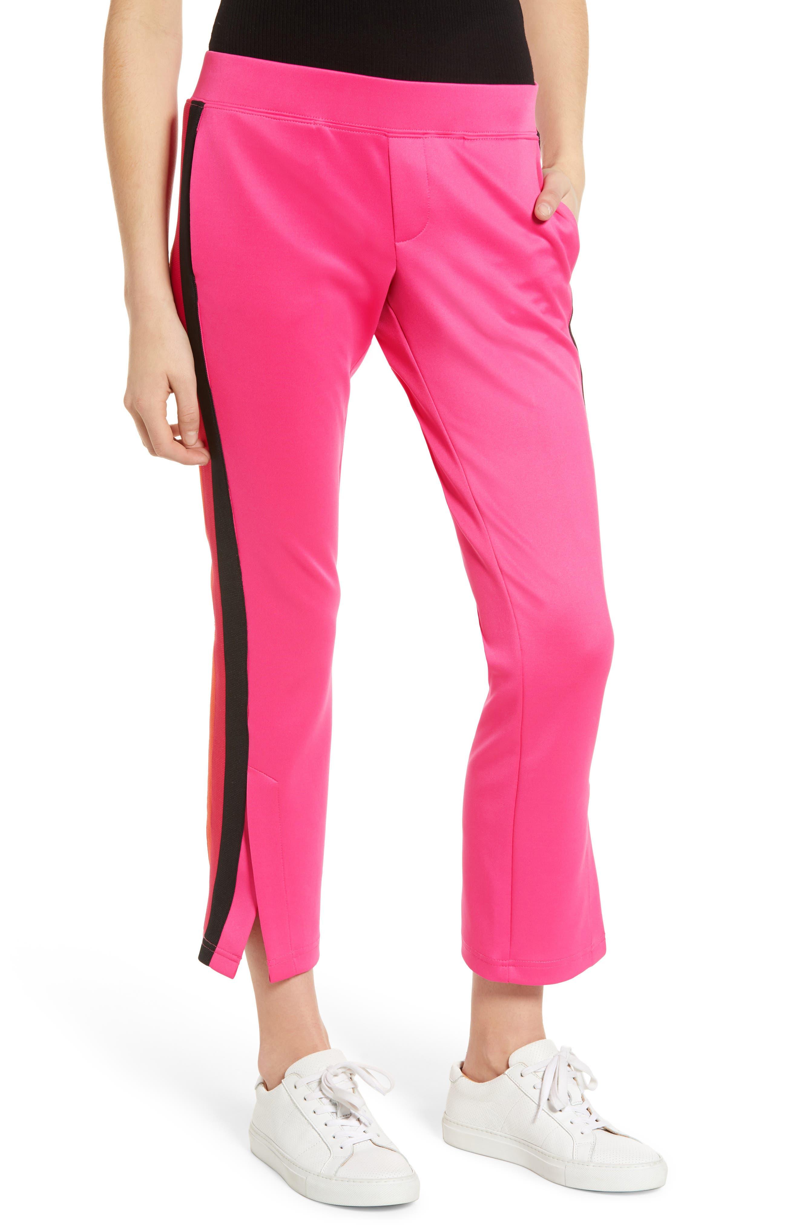Pam & Gela Tricolor Stripe Crop Flare Pants, Pink
