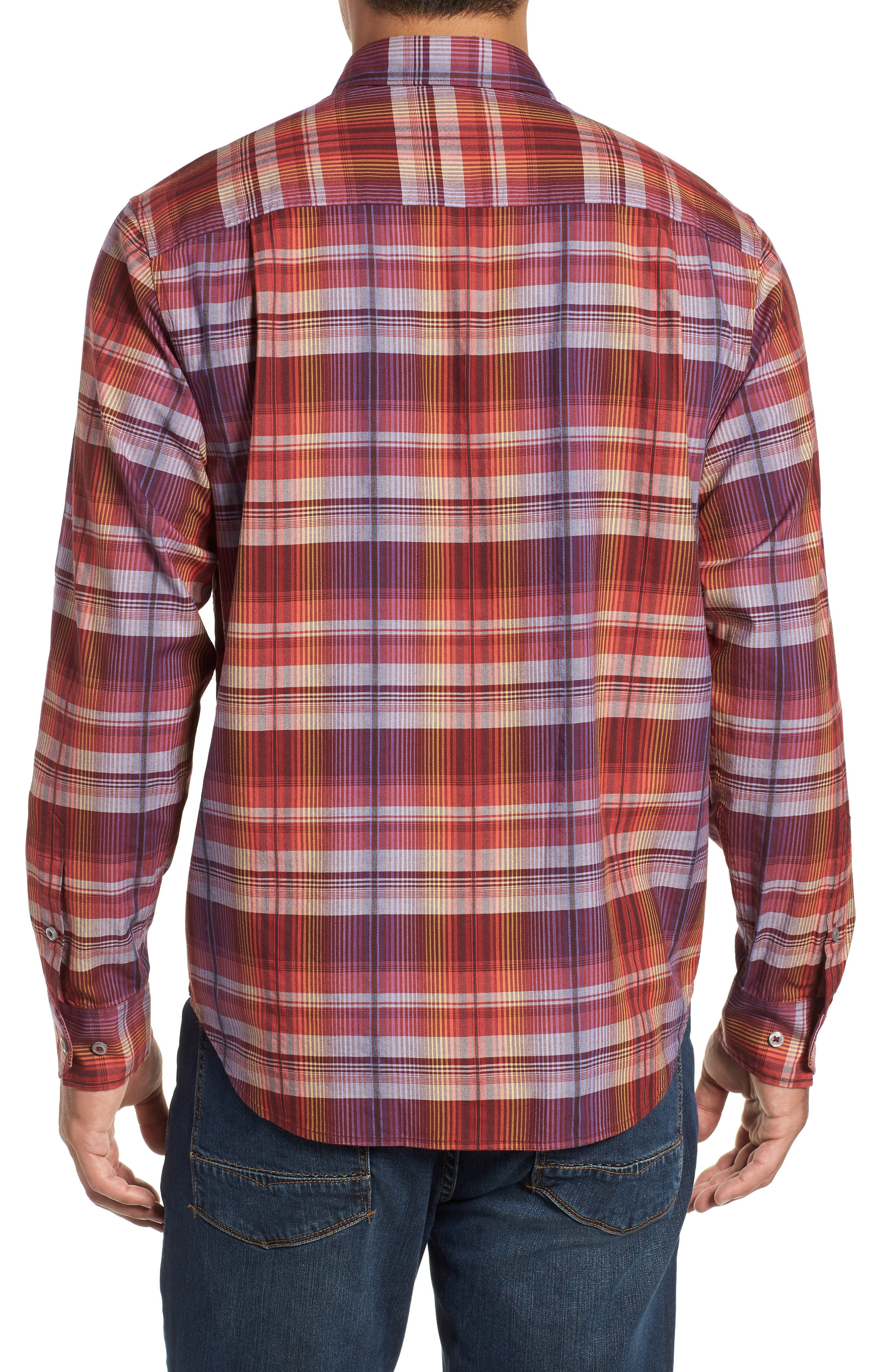 Puerto Prism Plaid Sport Shirt,                             Alternate thumbnail 3, color,                             SCOOTER RED