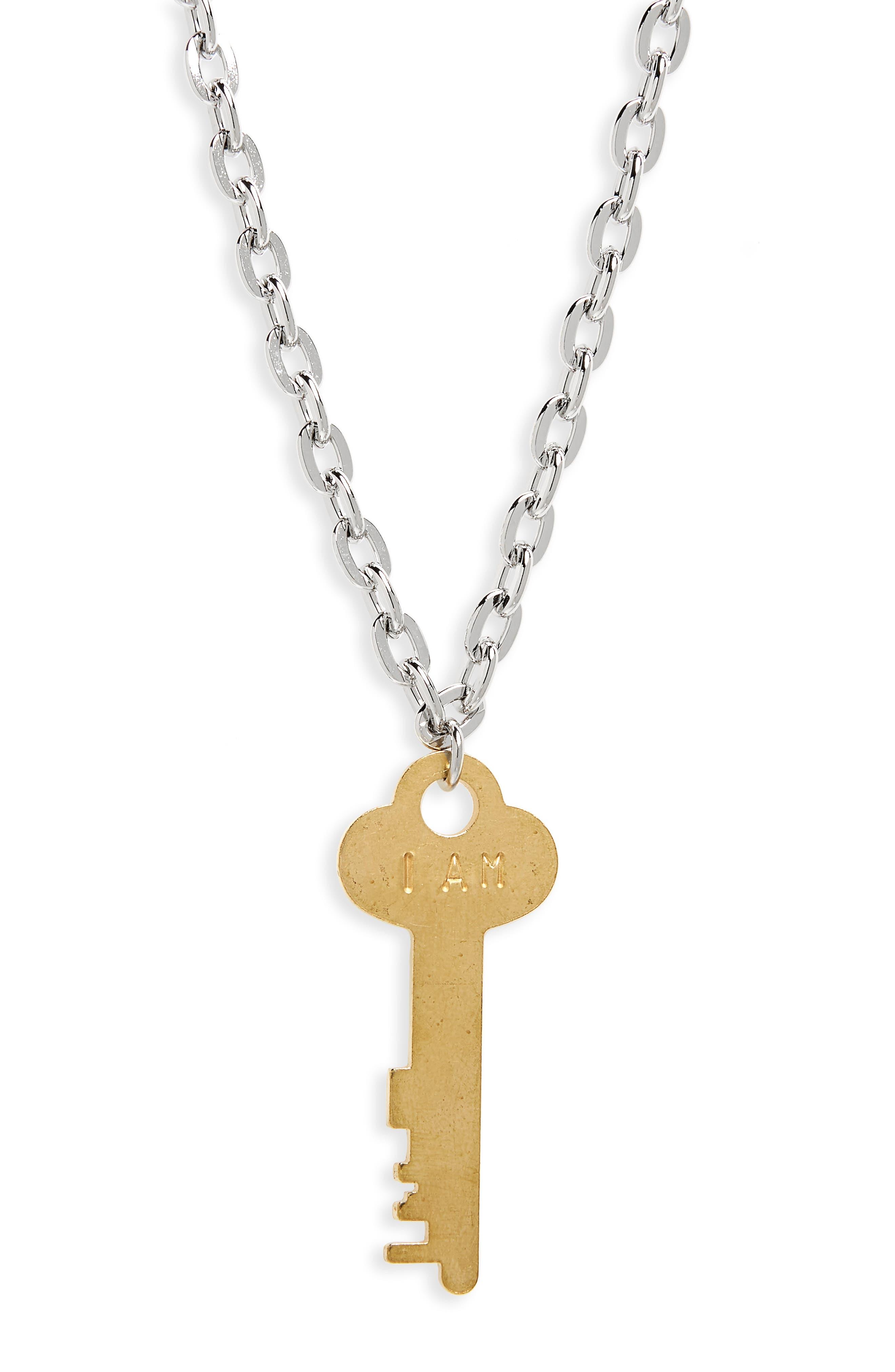I Am Brave Key Charm Necklace,                             Alternate thumbnail 3, color,