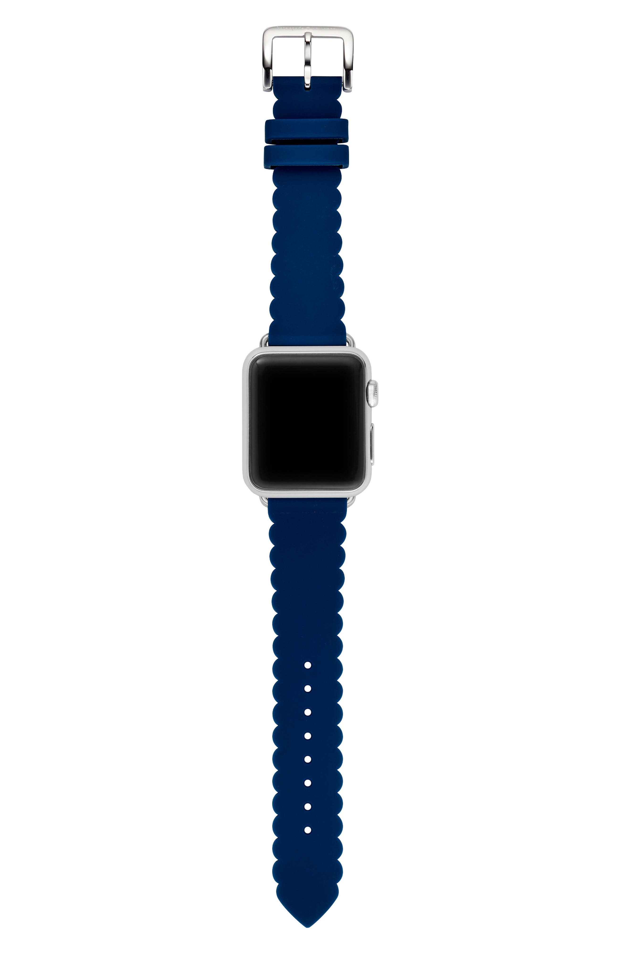 Apple Watch strap, 38mm,                             Alternate thumbnail 3, color,                             NAVY/ SILVER