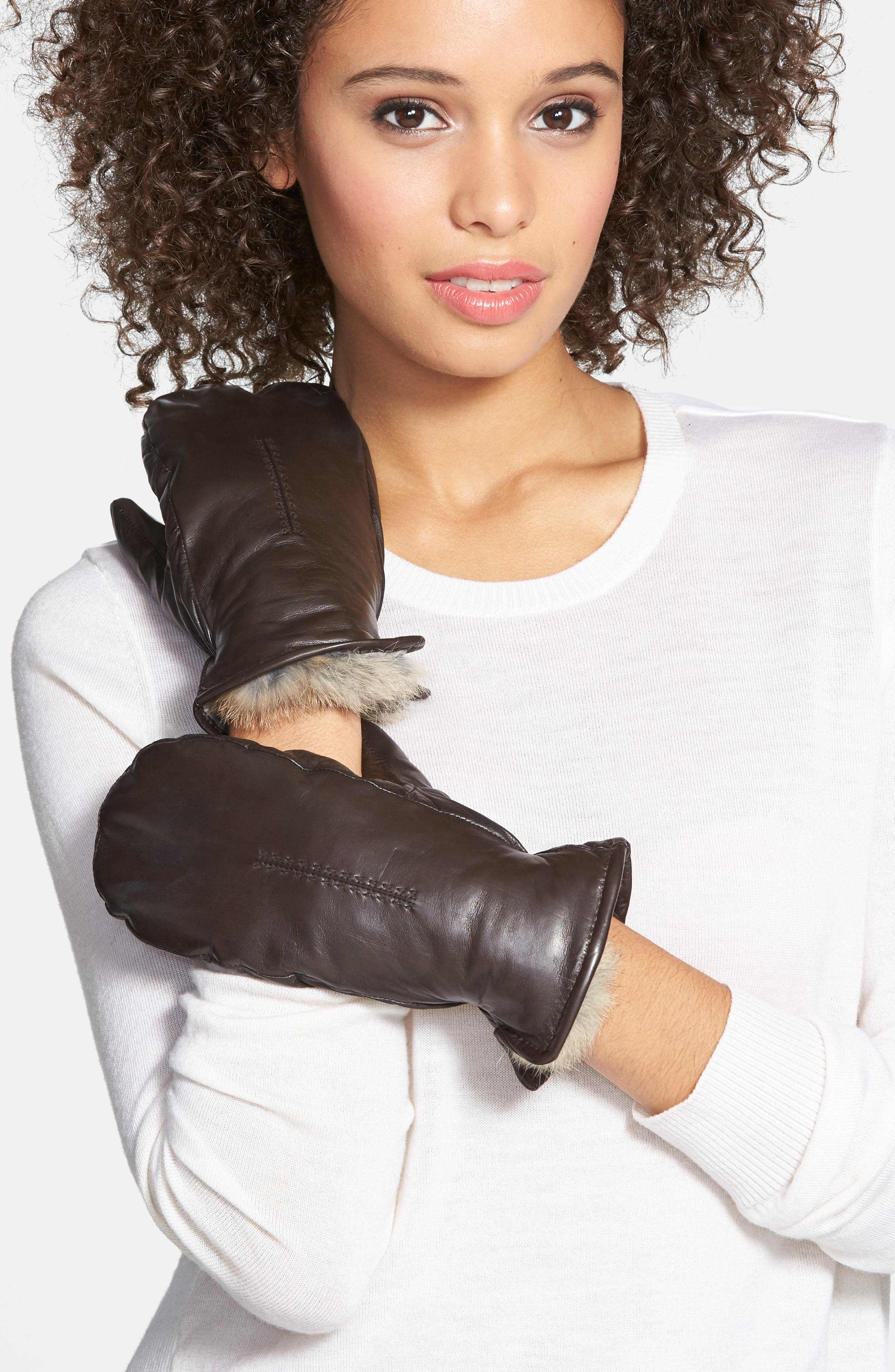 Genuine Rabbit Fur Lined Leather Mittens,                             Alternate thumbnail 5, color,