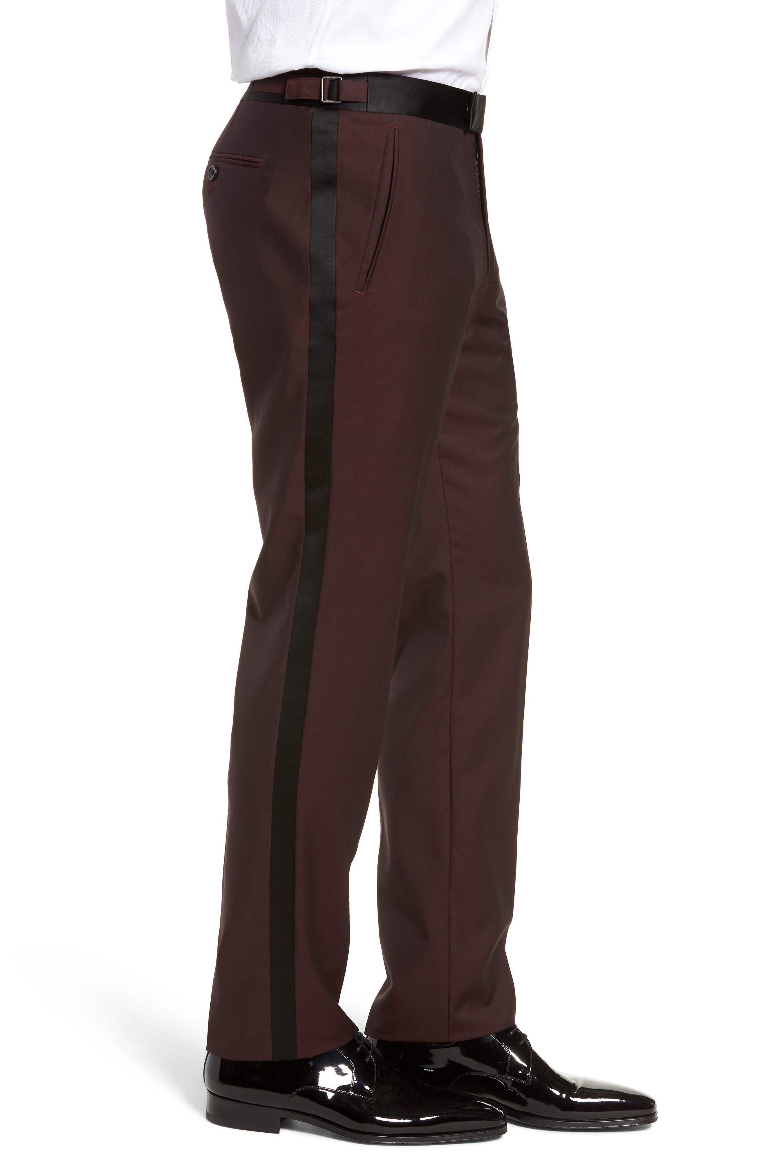 Capstone Slim Fit Tuxedo Trousers,                             Alternate thumbnail 3, color,                             MAROON