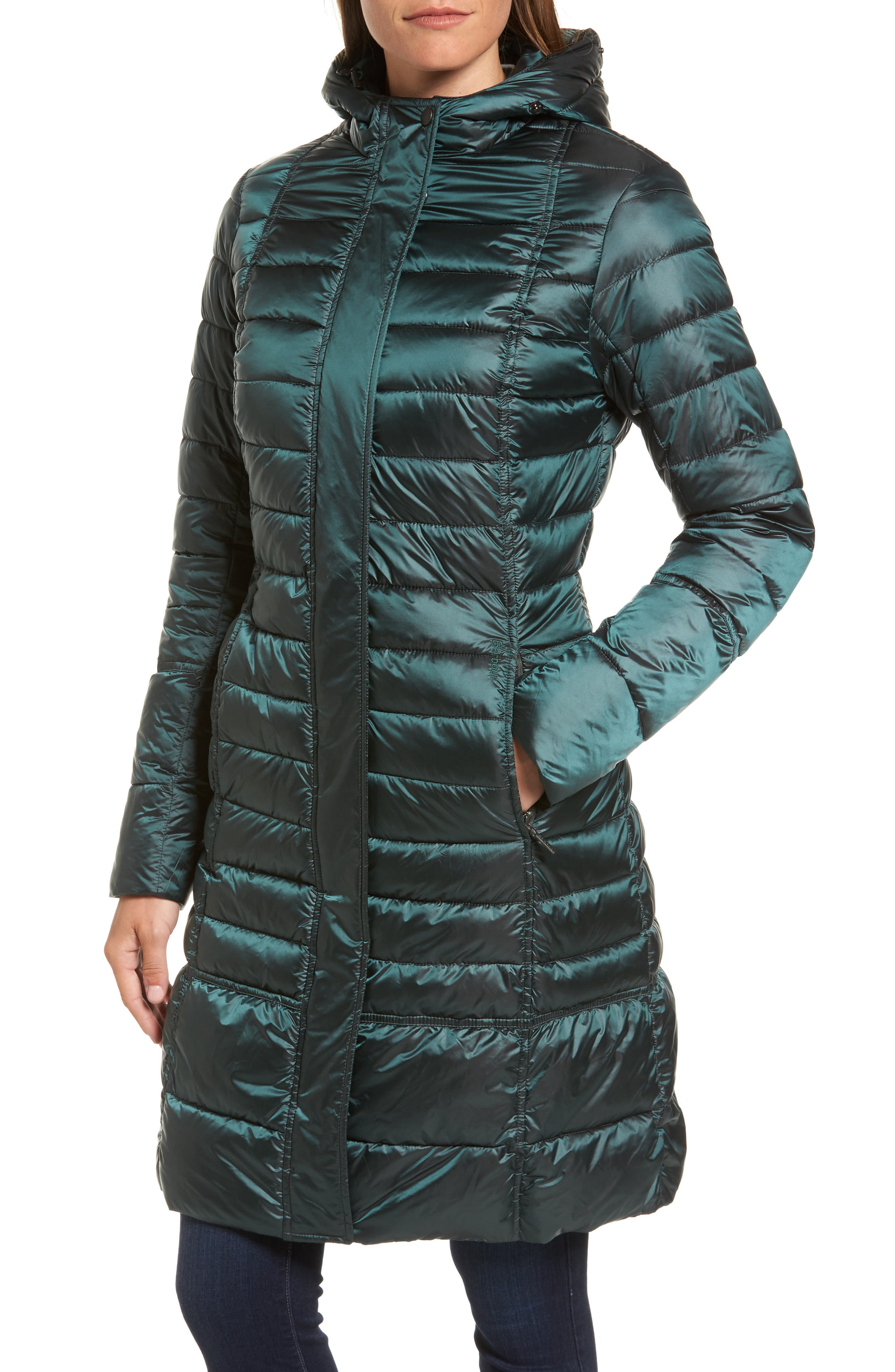 Fortrose Hooded Quilted Coat with Faux Fur Trim,                             Alternate thumbnail 8, color,