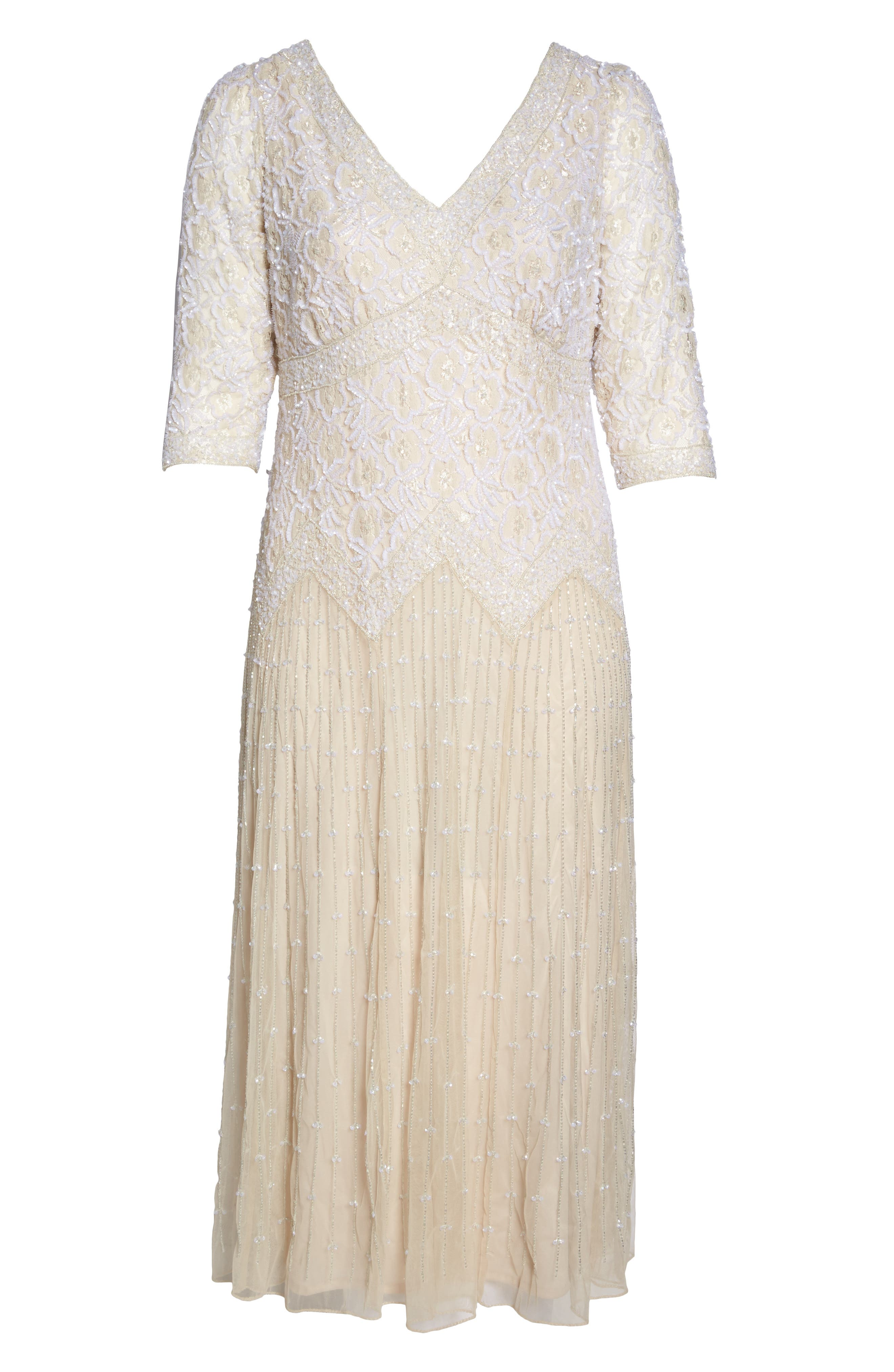 Beaded V-Neck Lace Illusion Gown,                             Alternate thumbnail 7, color,                             CHAMPAGNE