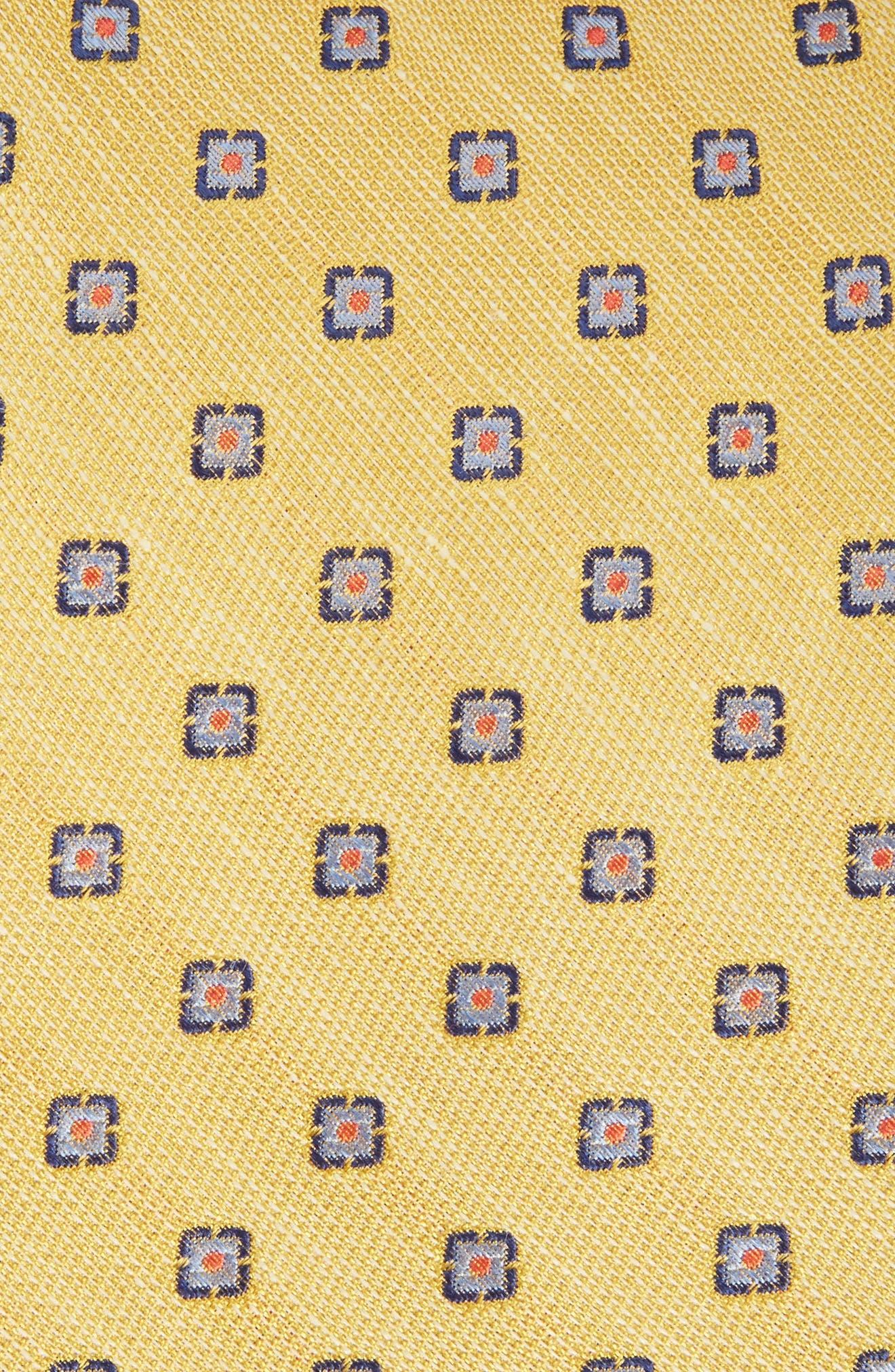 Medallion Scene Silk & Linen Tie,                             Alternate thumbnail 4, color,