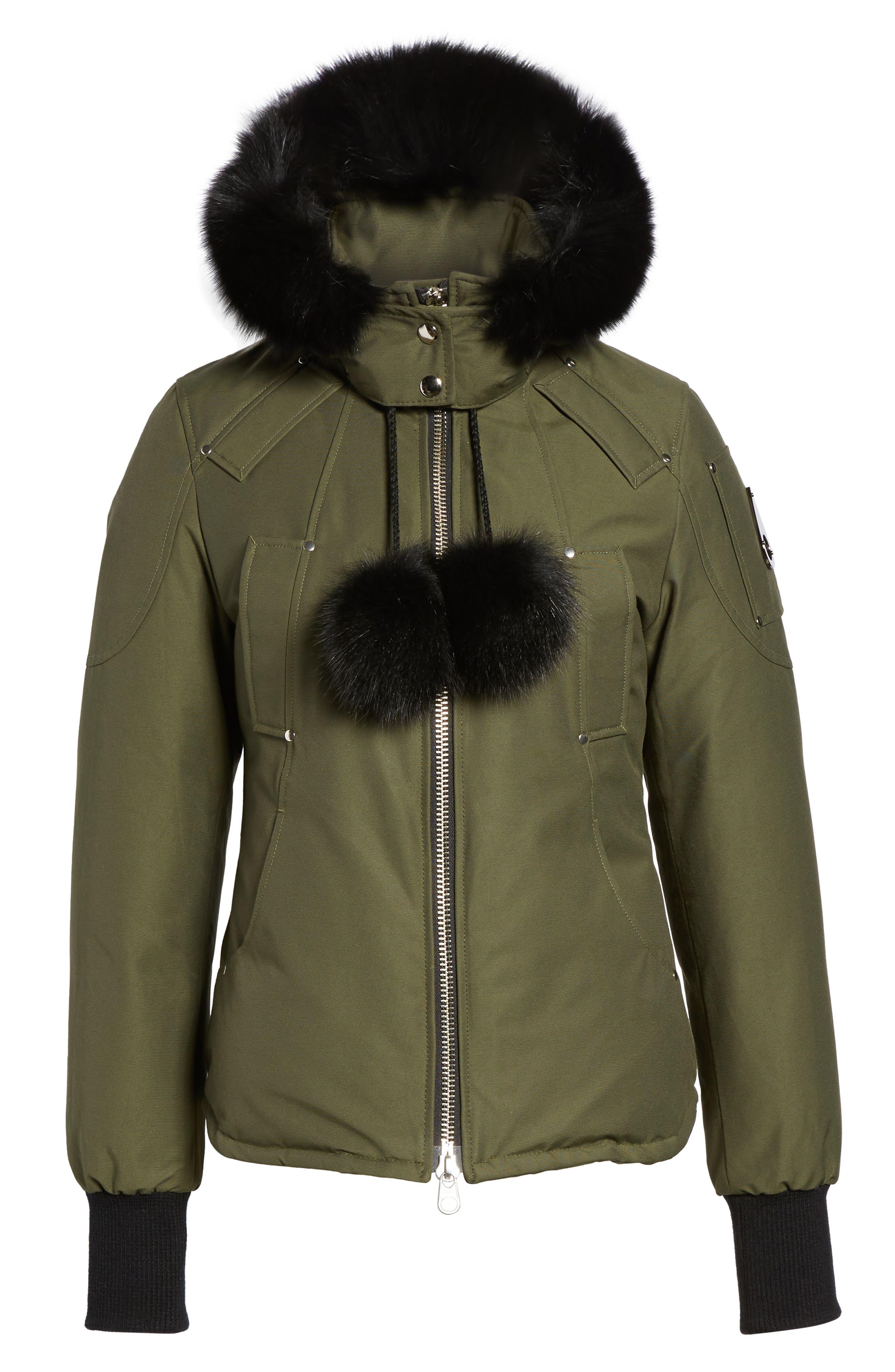 Genuine Fox Fur Trim Hooded Down Jacket,                             Alternate thumbnail 5, color,                             300