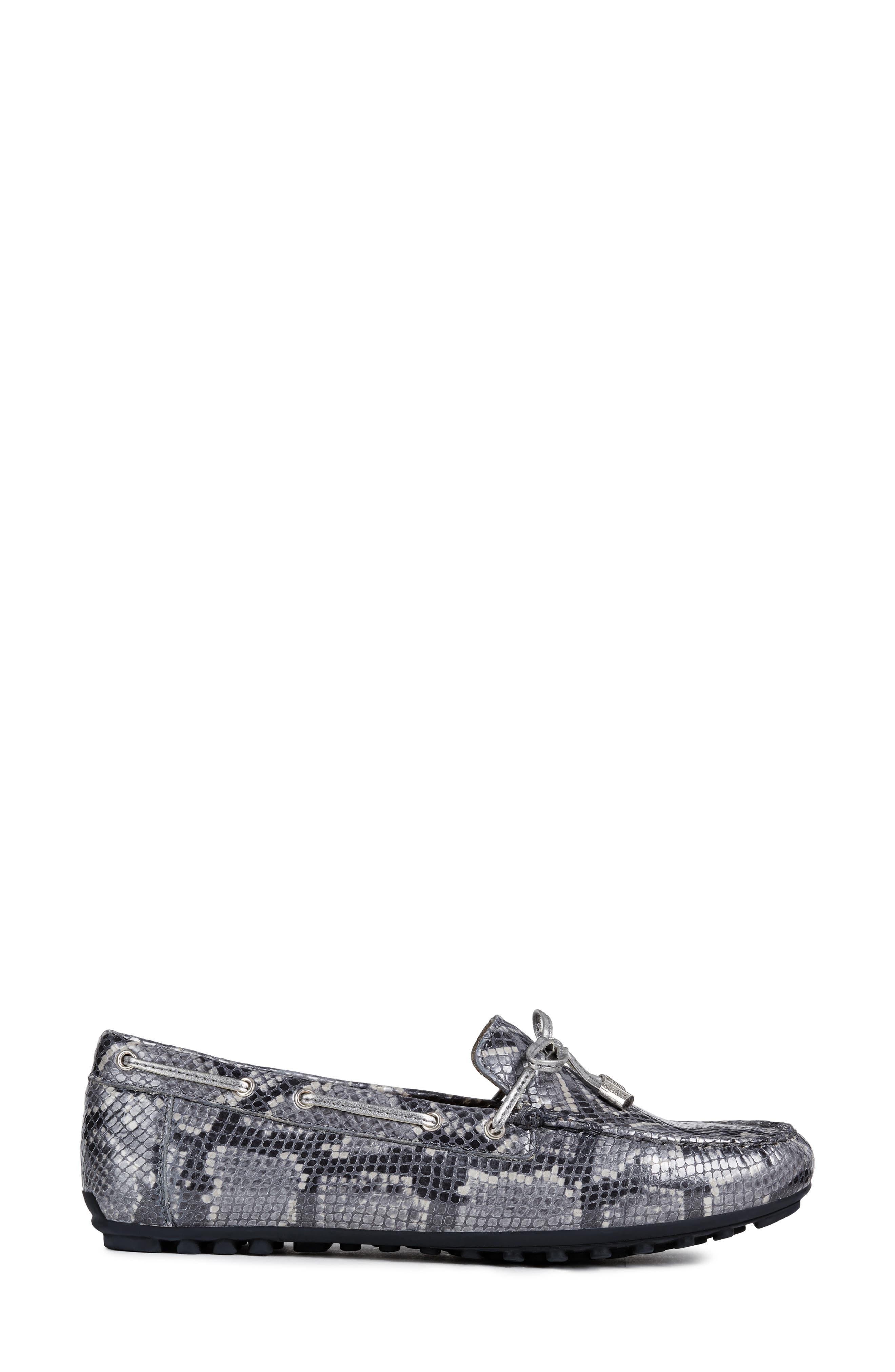 Leelyan Leather Loafer,                             Alternate thumbnail 3, color,                             LIGHT GREY/ GUNMETAL LEATHER
