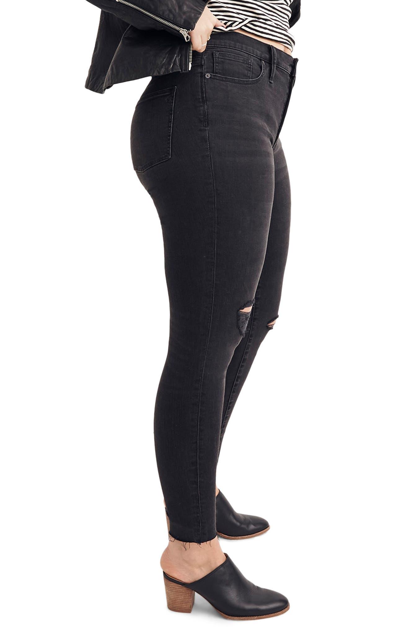 9-Inch High Waist Skinny Jeans,                             Alternate thumbnail 7, color,                             BLACK SEA