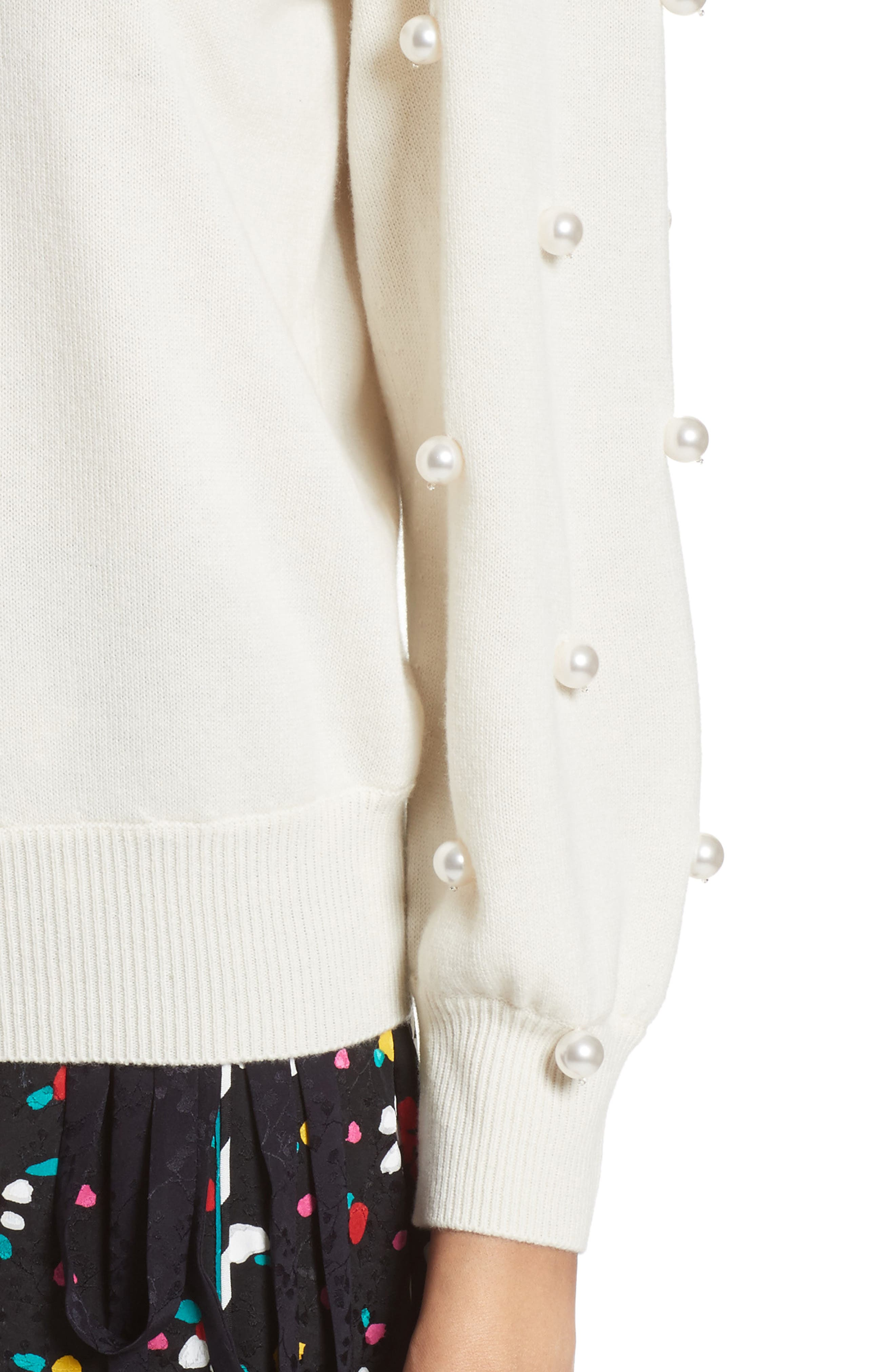 Imitation Pearl Embellished Wool & Cashmere Sweater,                             Alternate thumbnail 9, color,