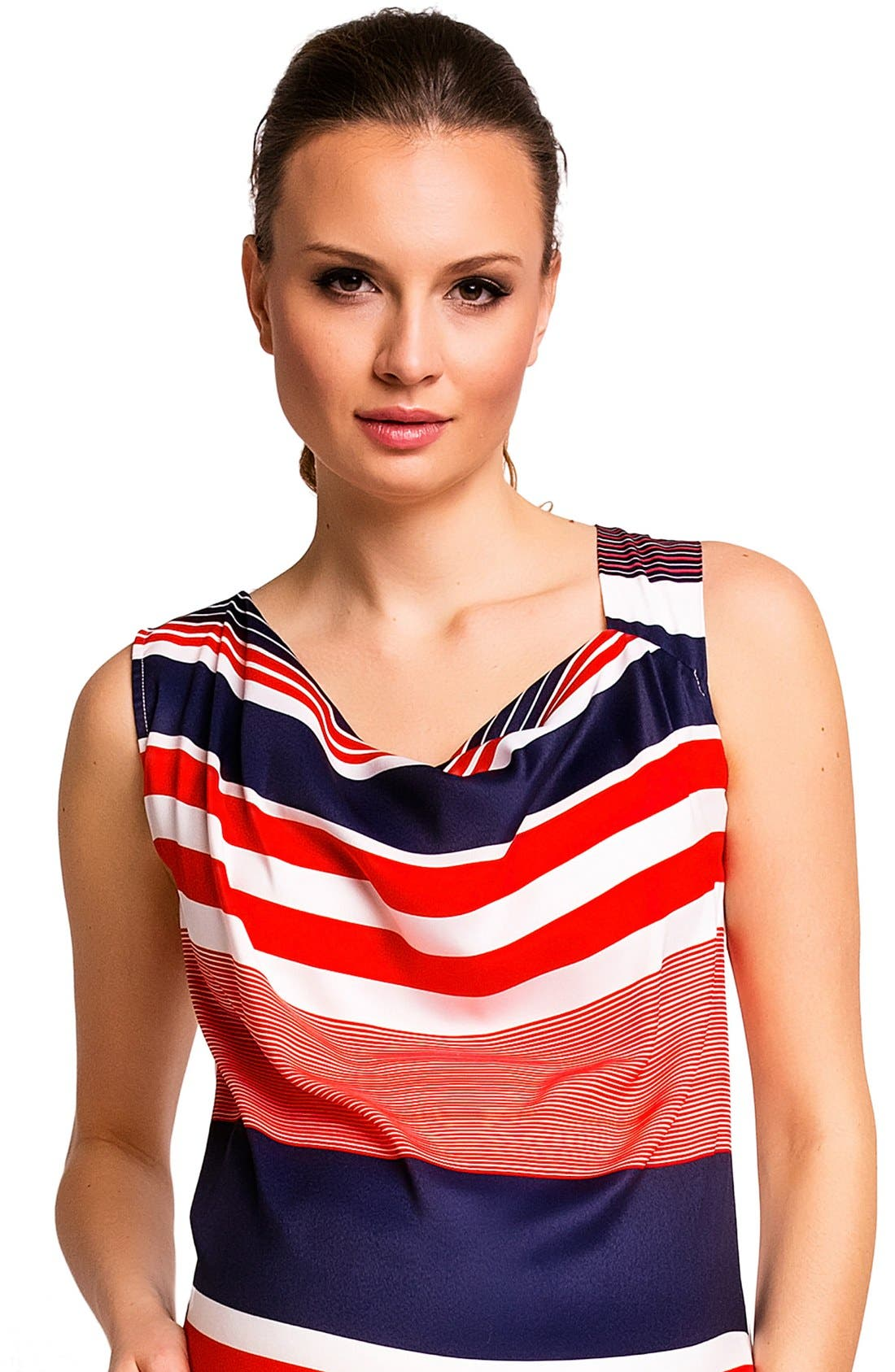 'Fialka' Maternity Top,                             Alternate thumbnail 6, color,                             RED/BLUE STRIPES