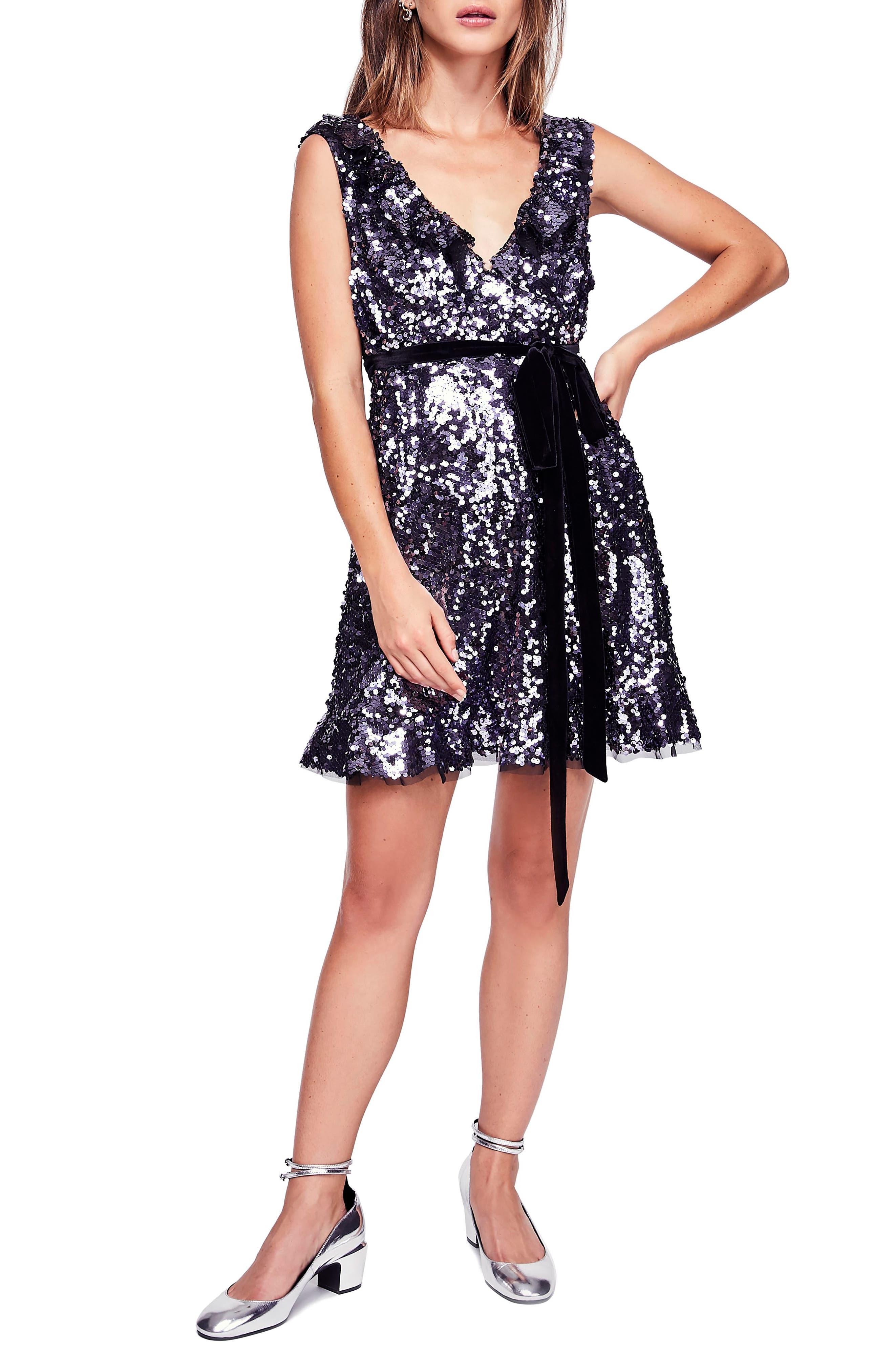 Siren Sequin Dress,                         Main,                         color, BLACK