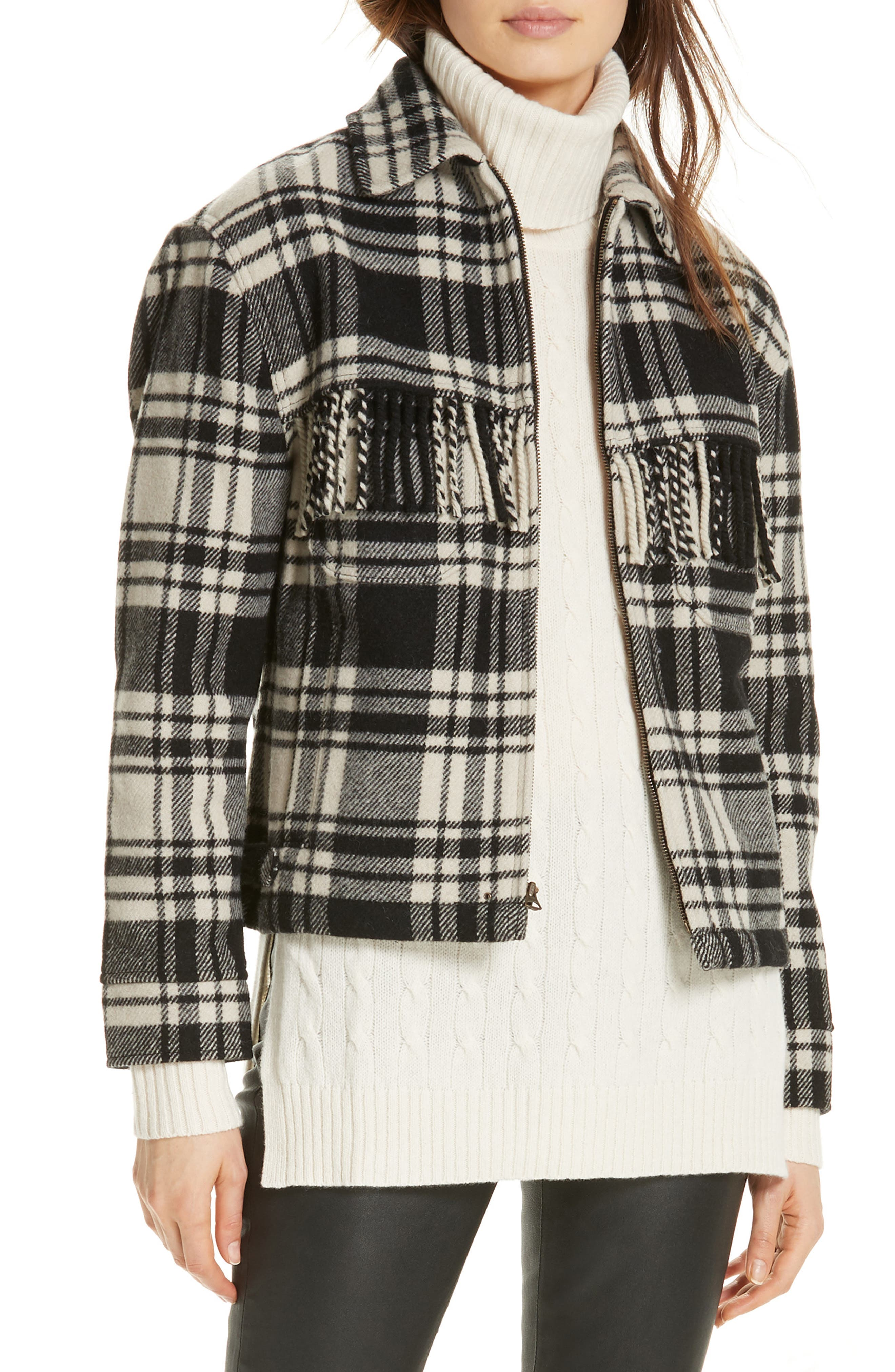 Wool Blend Plaid Jacket,                             Main thumbnail 1, color,                             BLACK/ CREAM