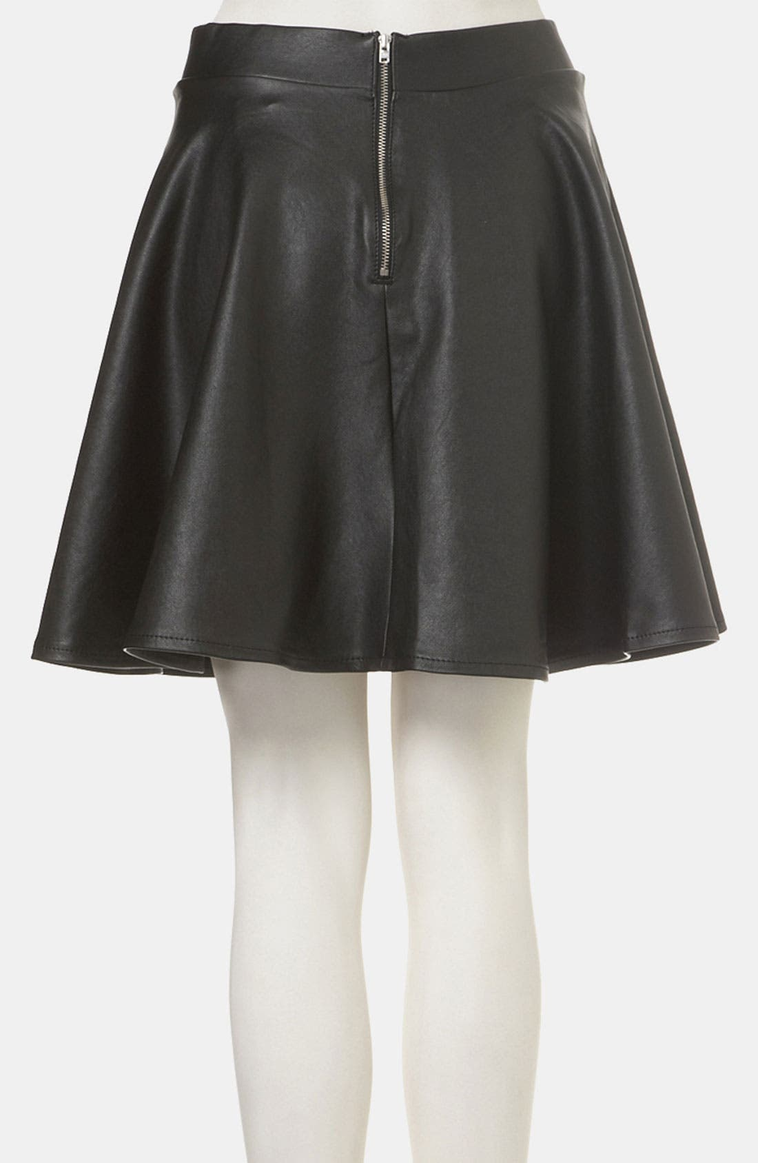 TOPSHOP,                             'Andie' Faux Leather Skater Skirt,                             Alternate thumbnail 3, color,                             001