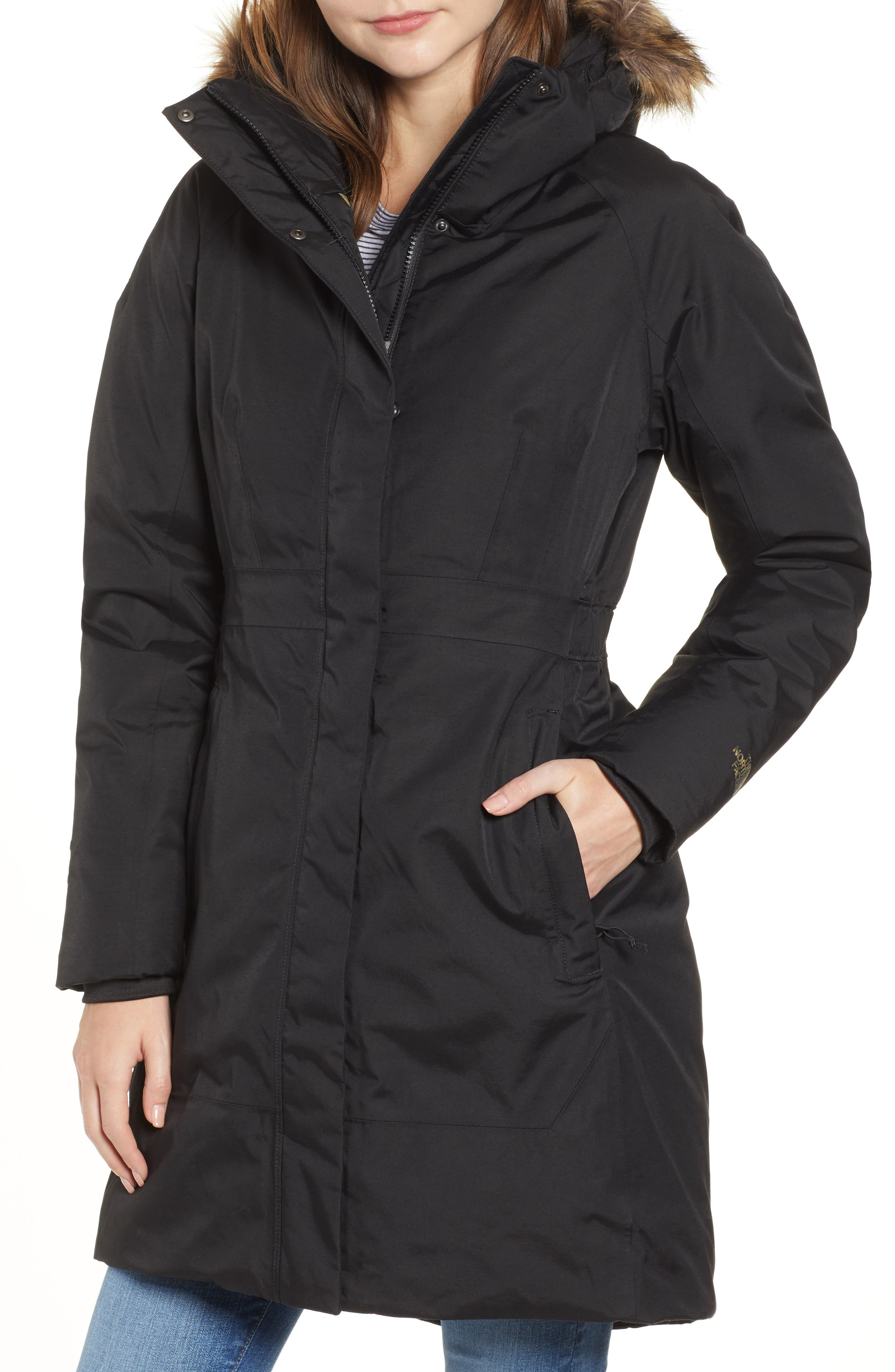 THE NORTH FACE,                             Arctic II Waterproof 550 Fill Power Down Parka with Faux Fur Trim,                             Alternate thumbnail 4, color,                             001