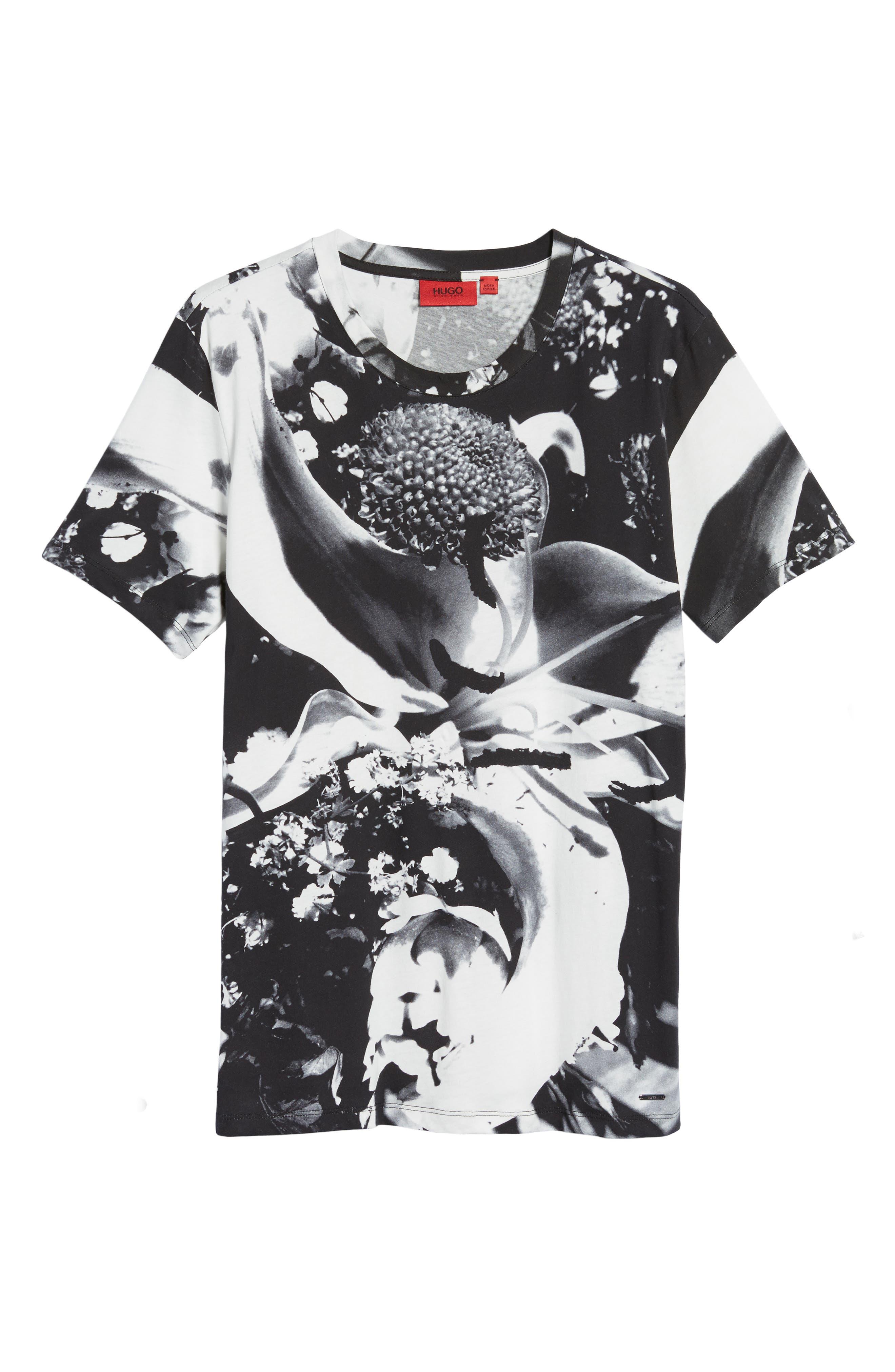 HUGO Diced Allover Print T-Shirt,                             Alternate thumbnail 6, color,                             100