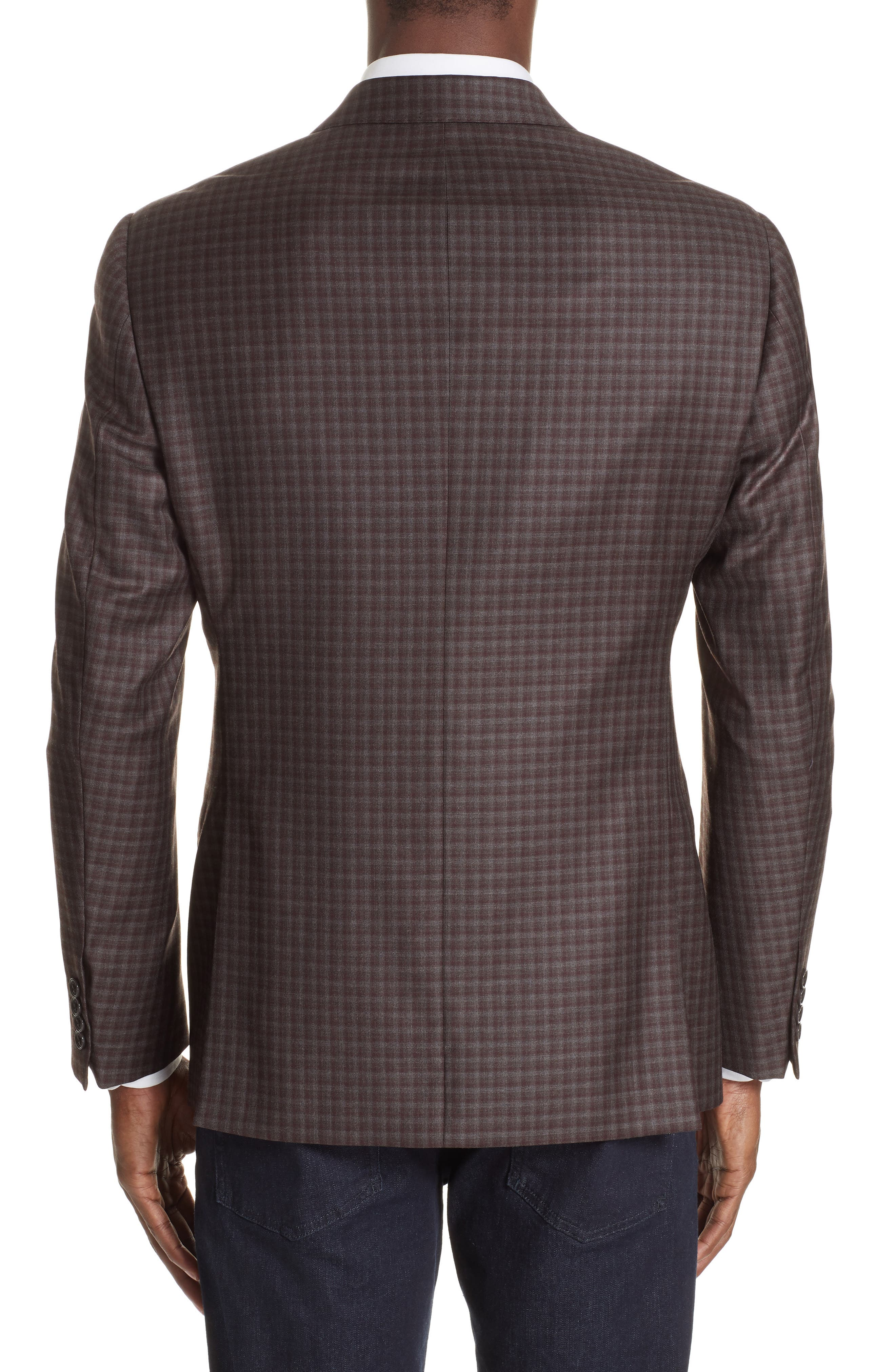 G-Line Trim Fit Plaid Wool Sport Coat,                             Alternate thumbnail 2, color,                             RED/ BROWN