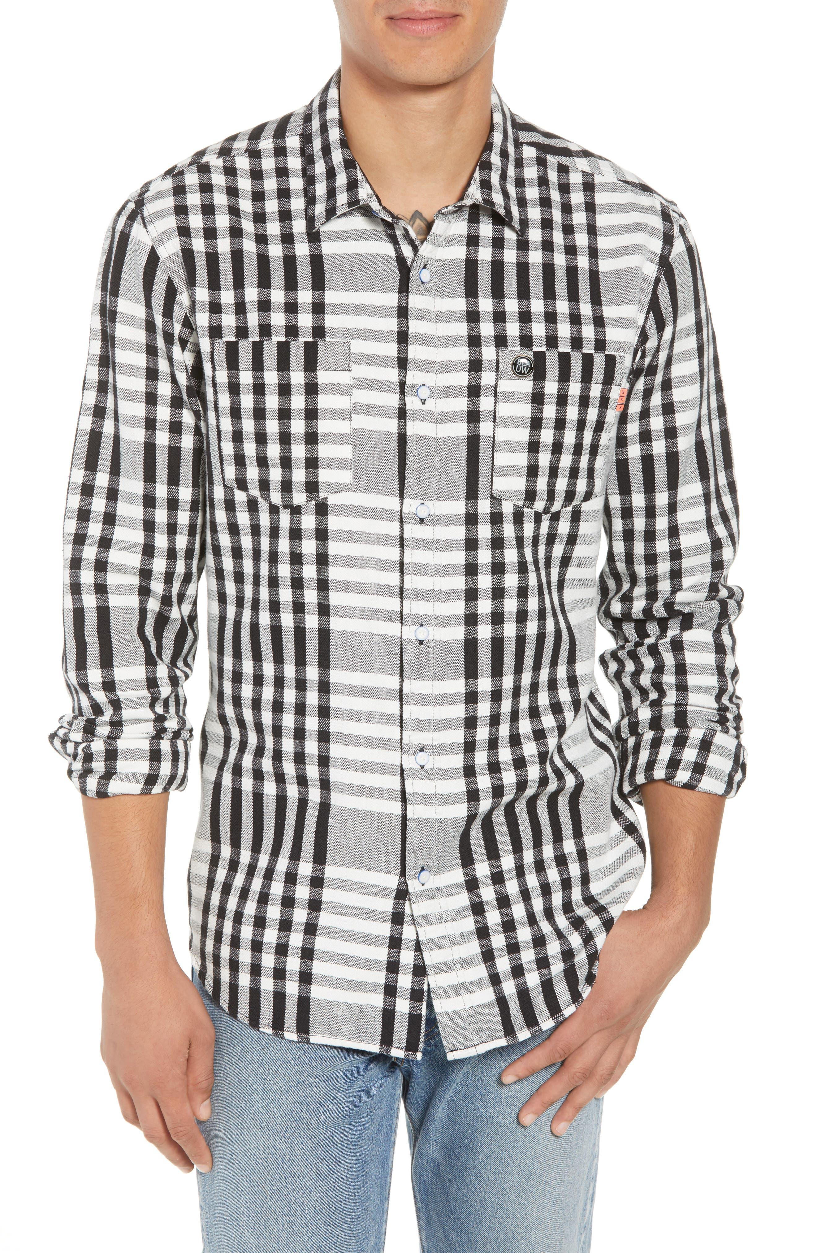 Check Tea Towel Sport Shirt,                         Main,                         color, COMBO D