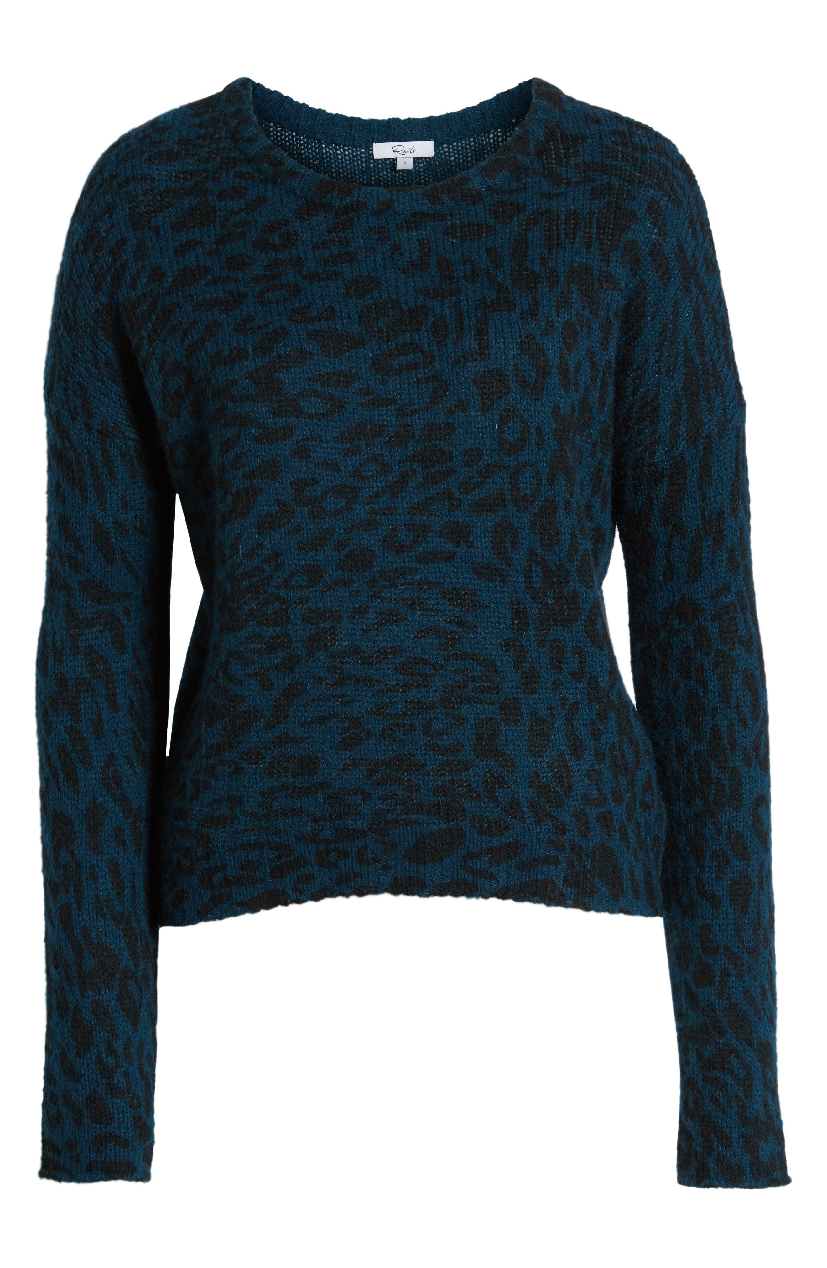 Donovan Animal Print Sweater,                             Alternate thumbnail 6, color,                             BLUE LEOPARD