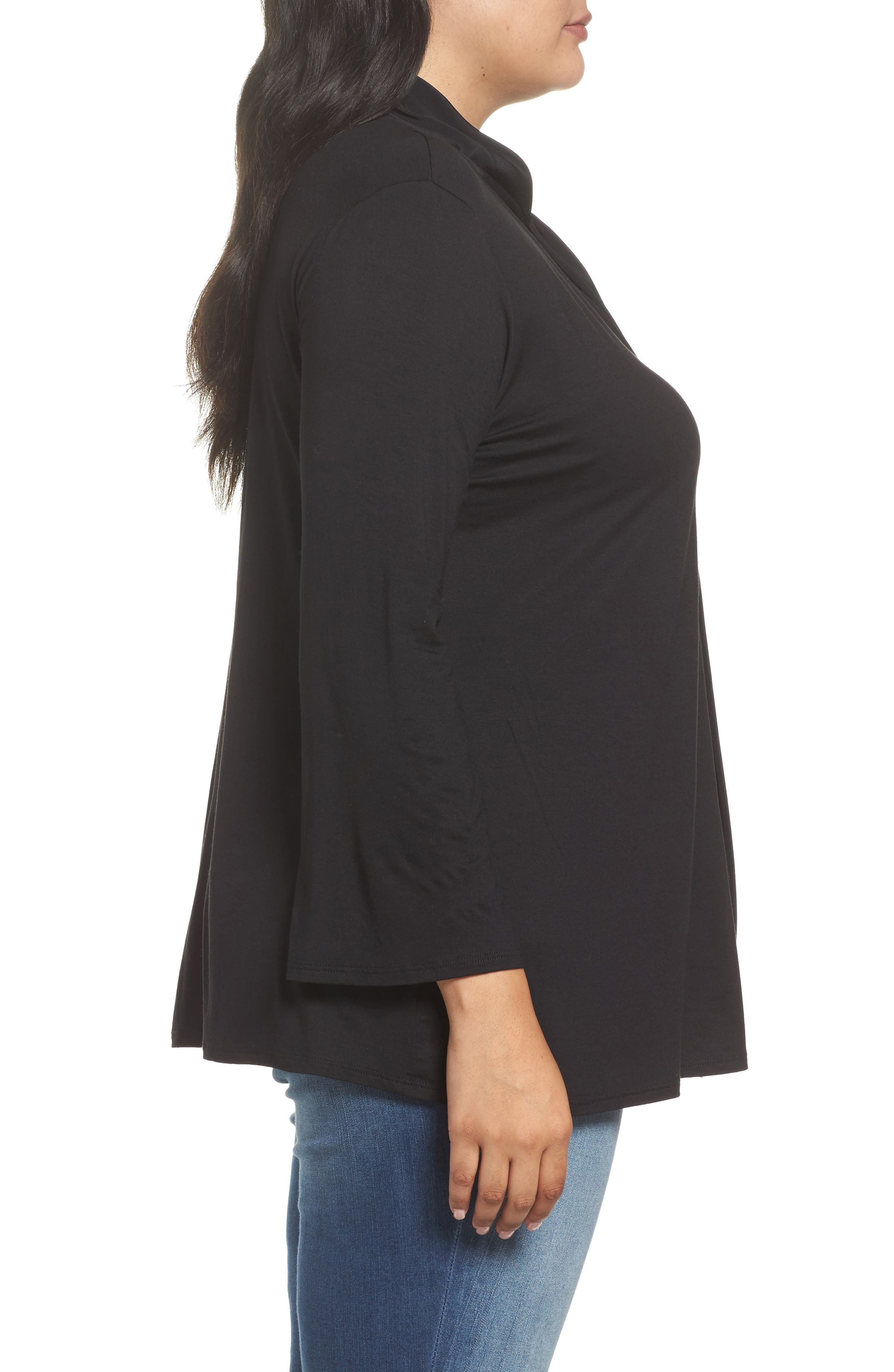Tie Neck Jersey Top,                             Alternate thumbnail 3, color,                             010
