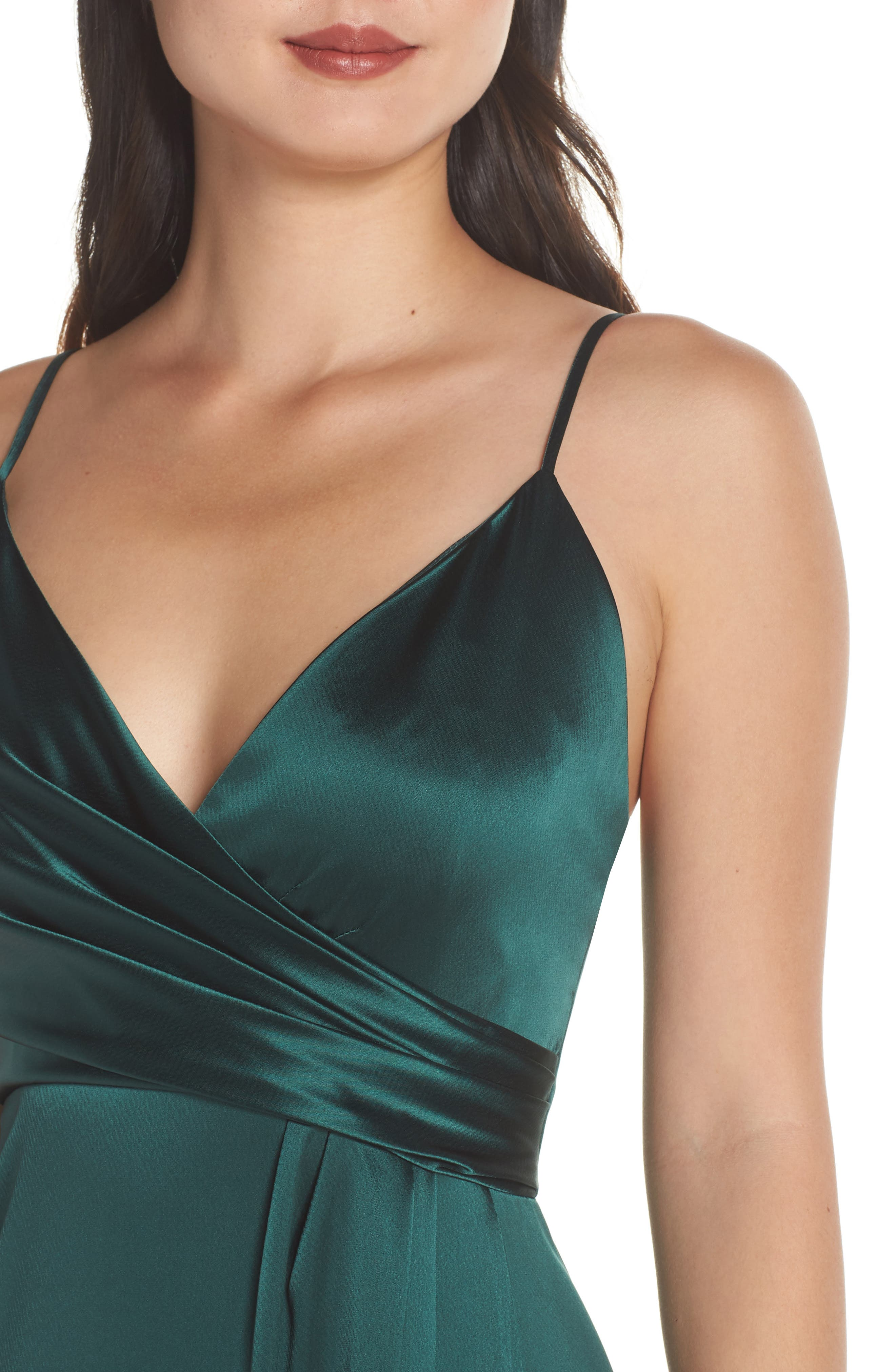 Faux Wrap Satin Gown,                             Alternate thumbnail 4, color,                             SPRUCE