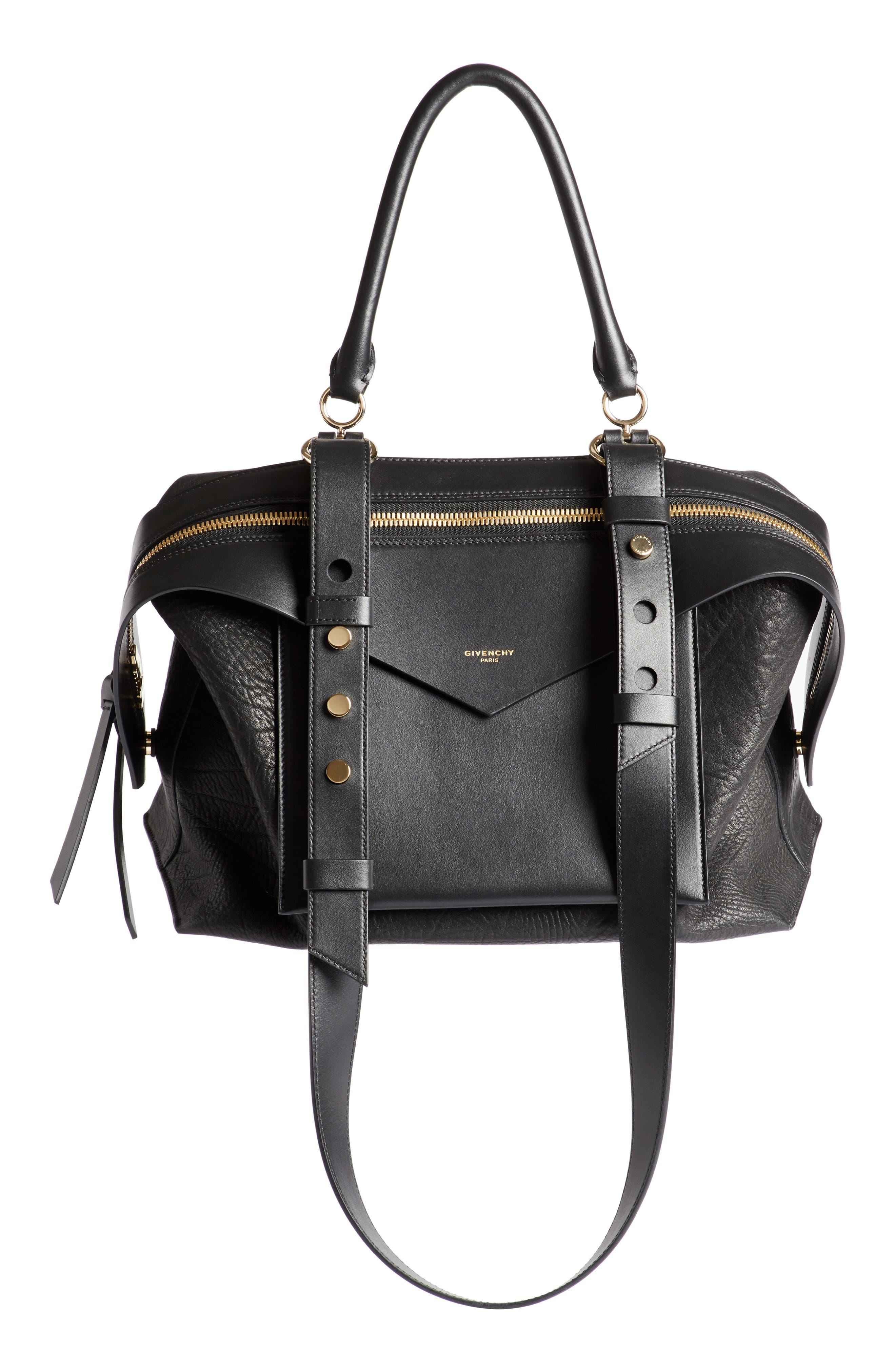 GIVENCHY,                             Medium Sway Leather Satchel,                             Main thumbnail 1, color,                             001