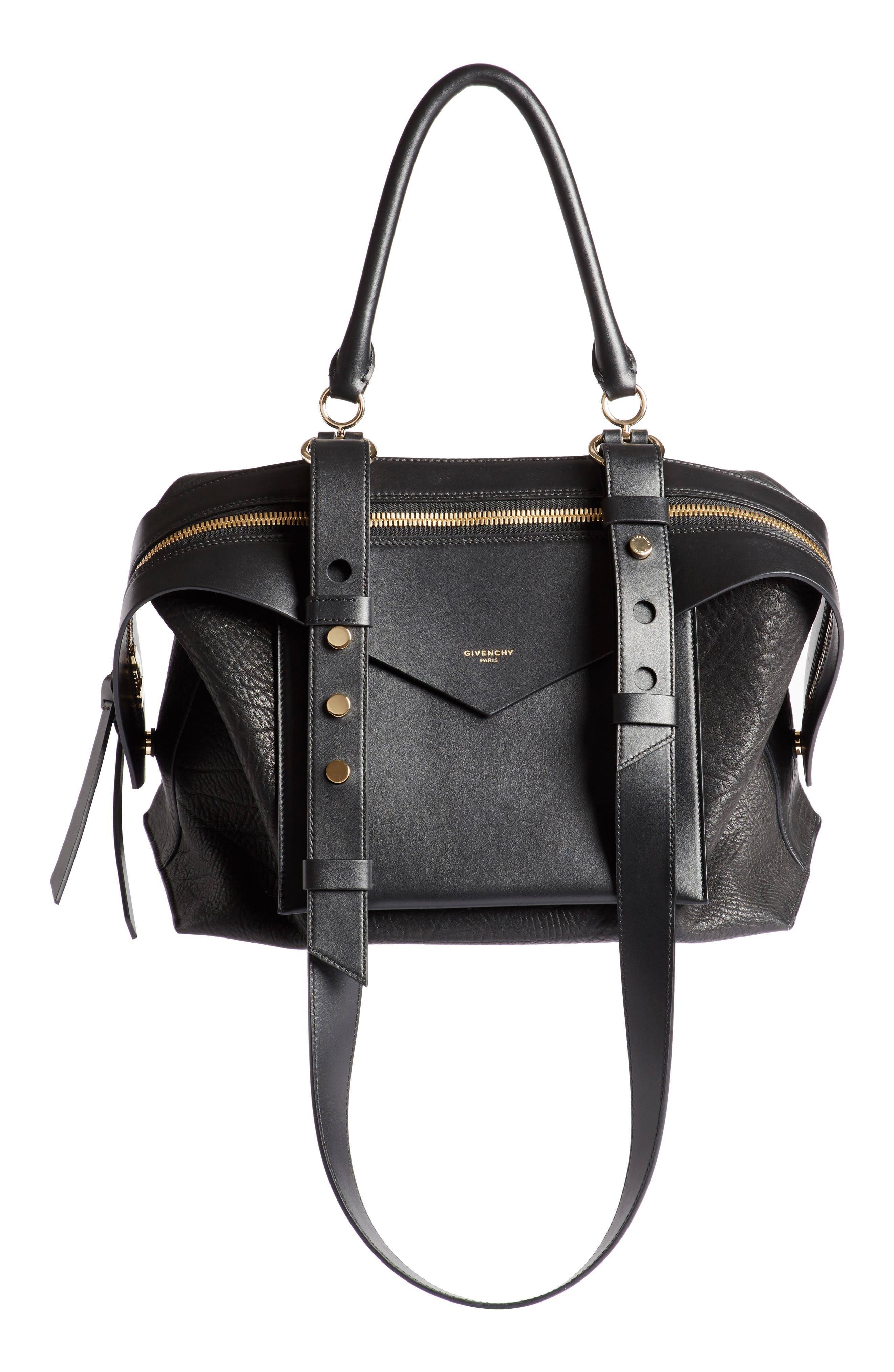 GIVENCHY Medium Sway Leather Satchel, Main, color, 001