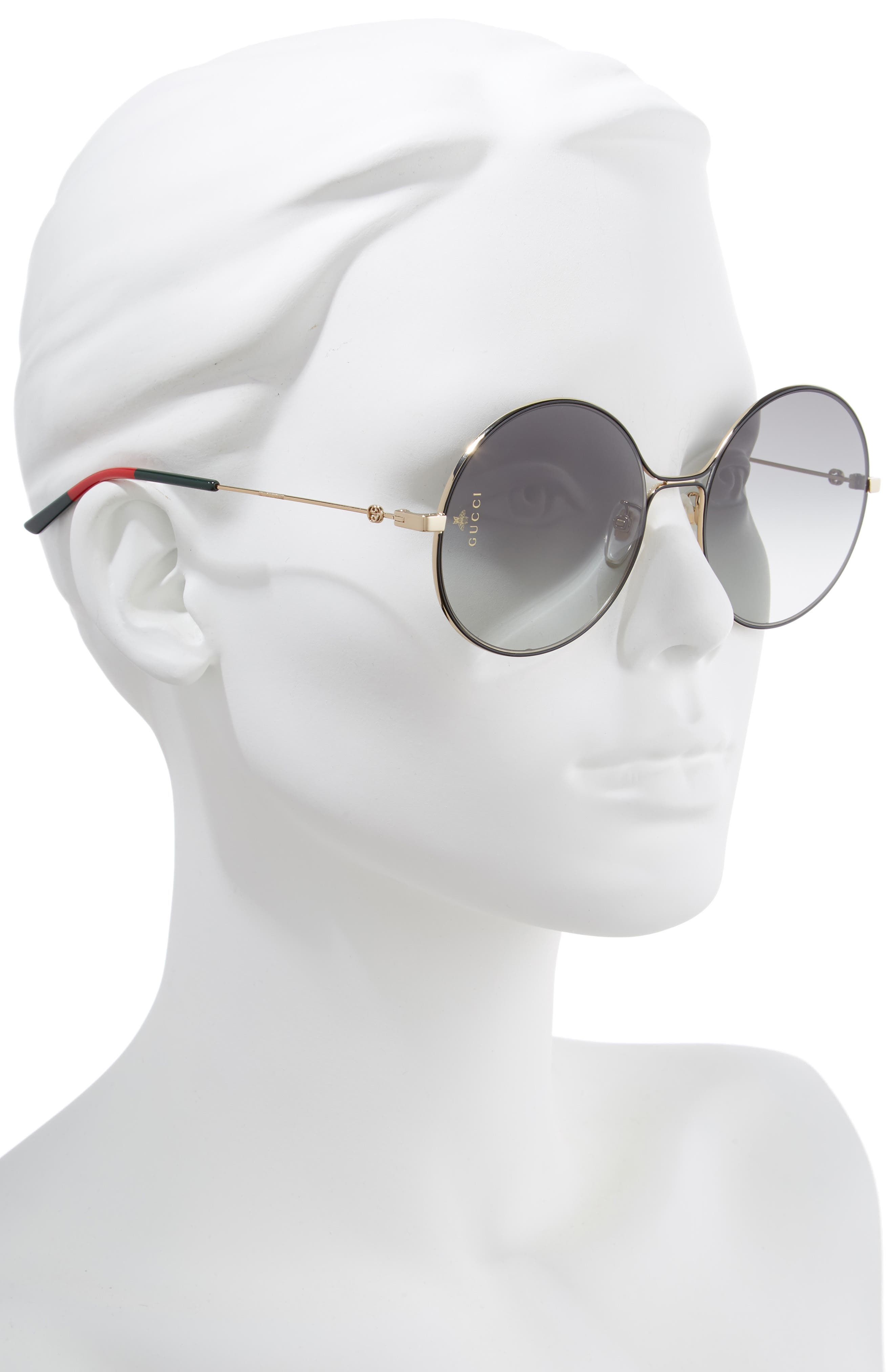58mm Round Sunglasses,                             Alternate thumbnail 2, color,                             GOLD/ BLACK/ GREY GRADIENT