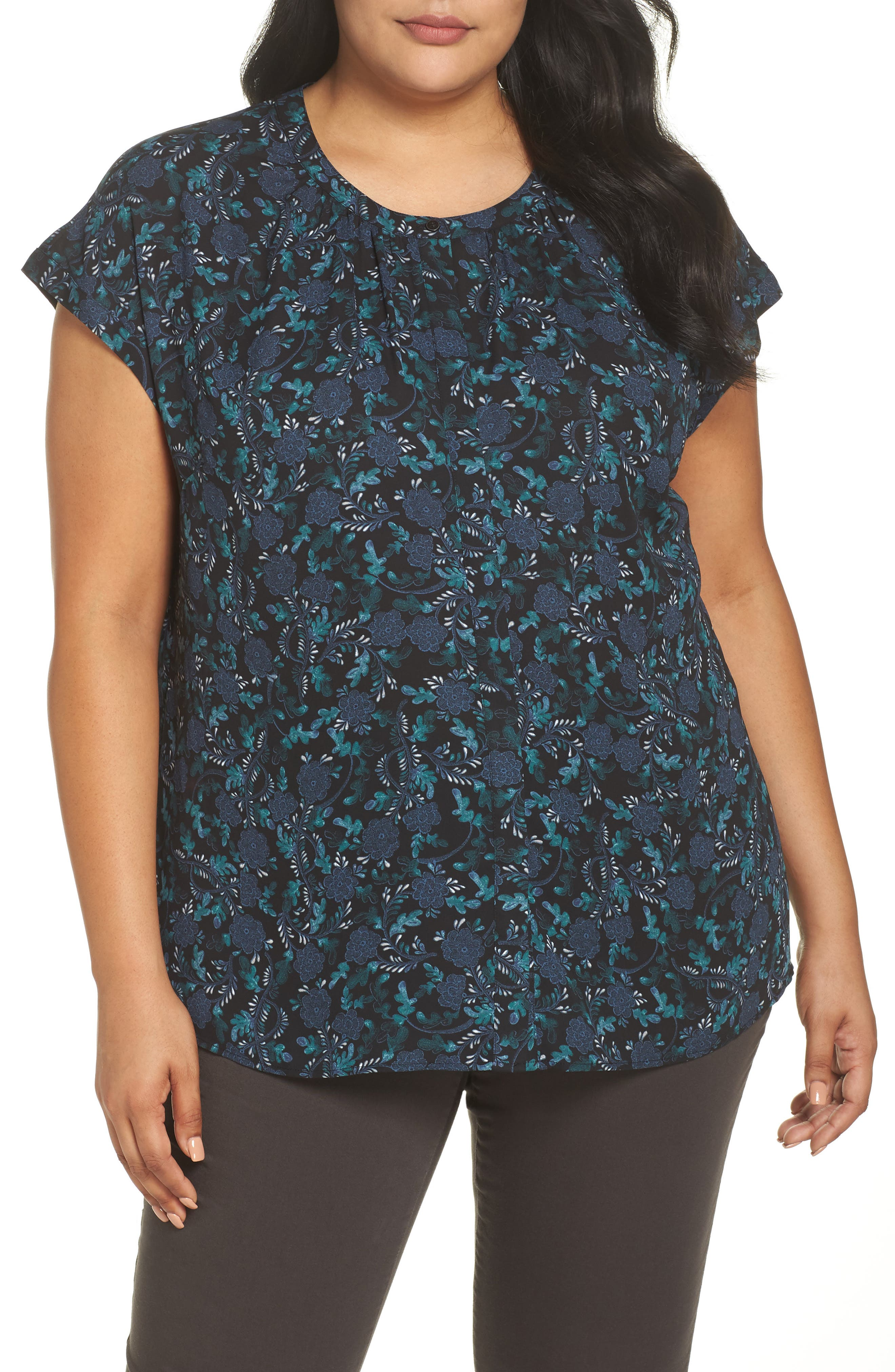 Gathered Neck Button Down Top,                             Main thumbnail 1, color,                             BLACK- GREEN FLORAL PRINT