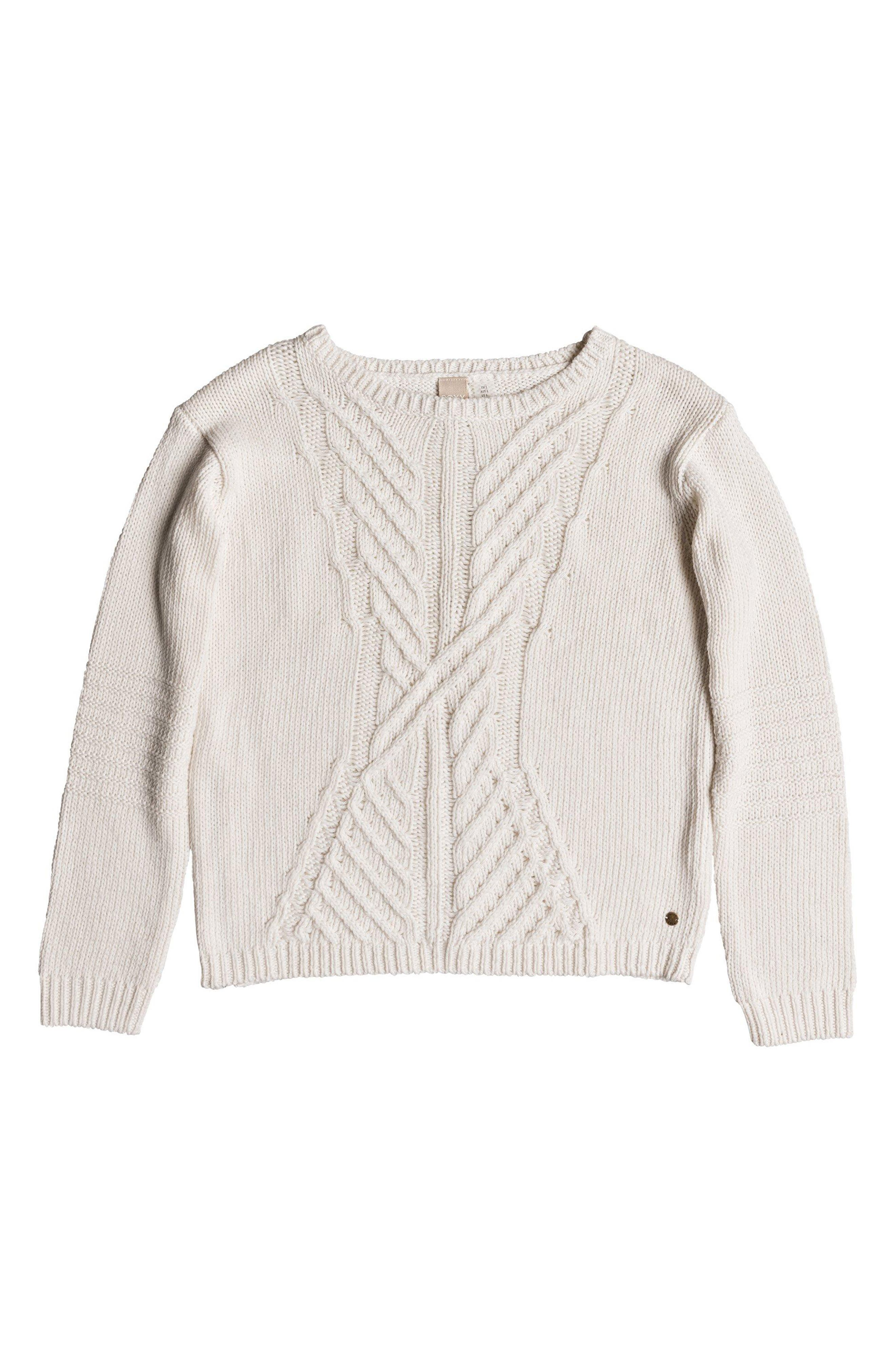 Glimpse of Romance Cable Knit Sweater,                             Alternate thumbnail 4, color,                             MARSHMALLOW